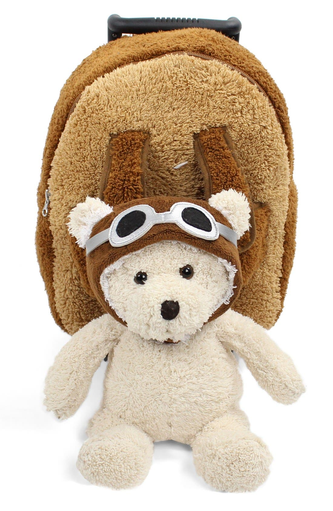 'Aviator Bear' Rolling Backpack,                             Alternate thumbnail 2, color,                             BROWN