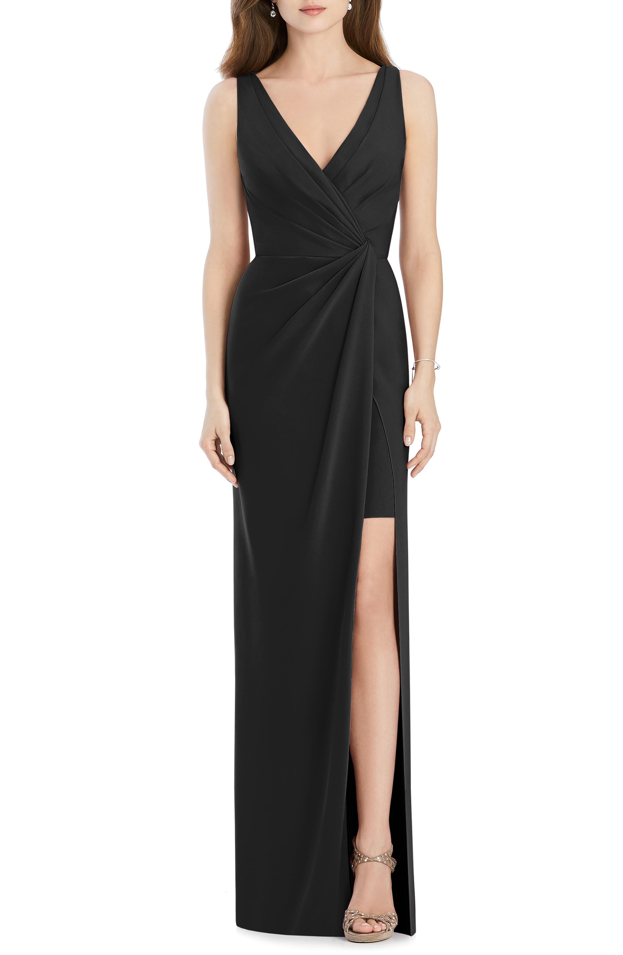 Crepe Column Gown,                             Main thumbnail 1, color,                             BLACK
