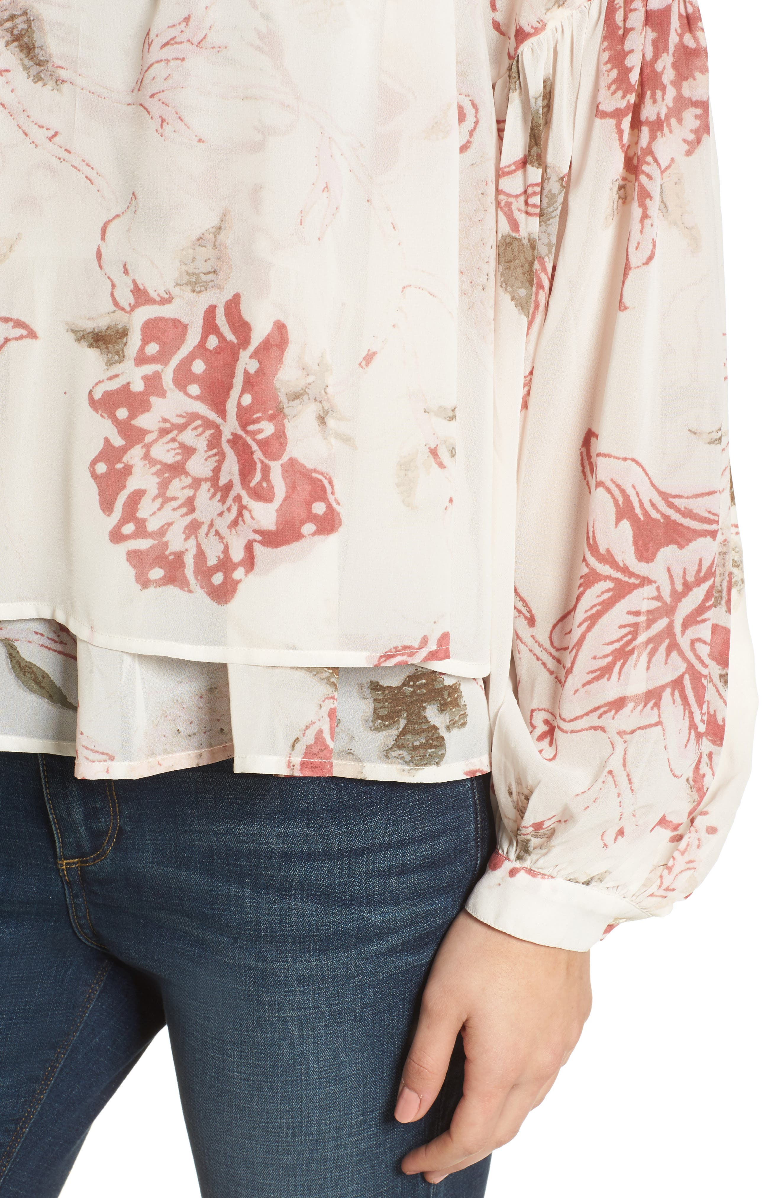 Floral Print Ruffle Hem Blouse,                             Alternate thumbnail 4, color,                             250