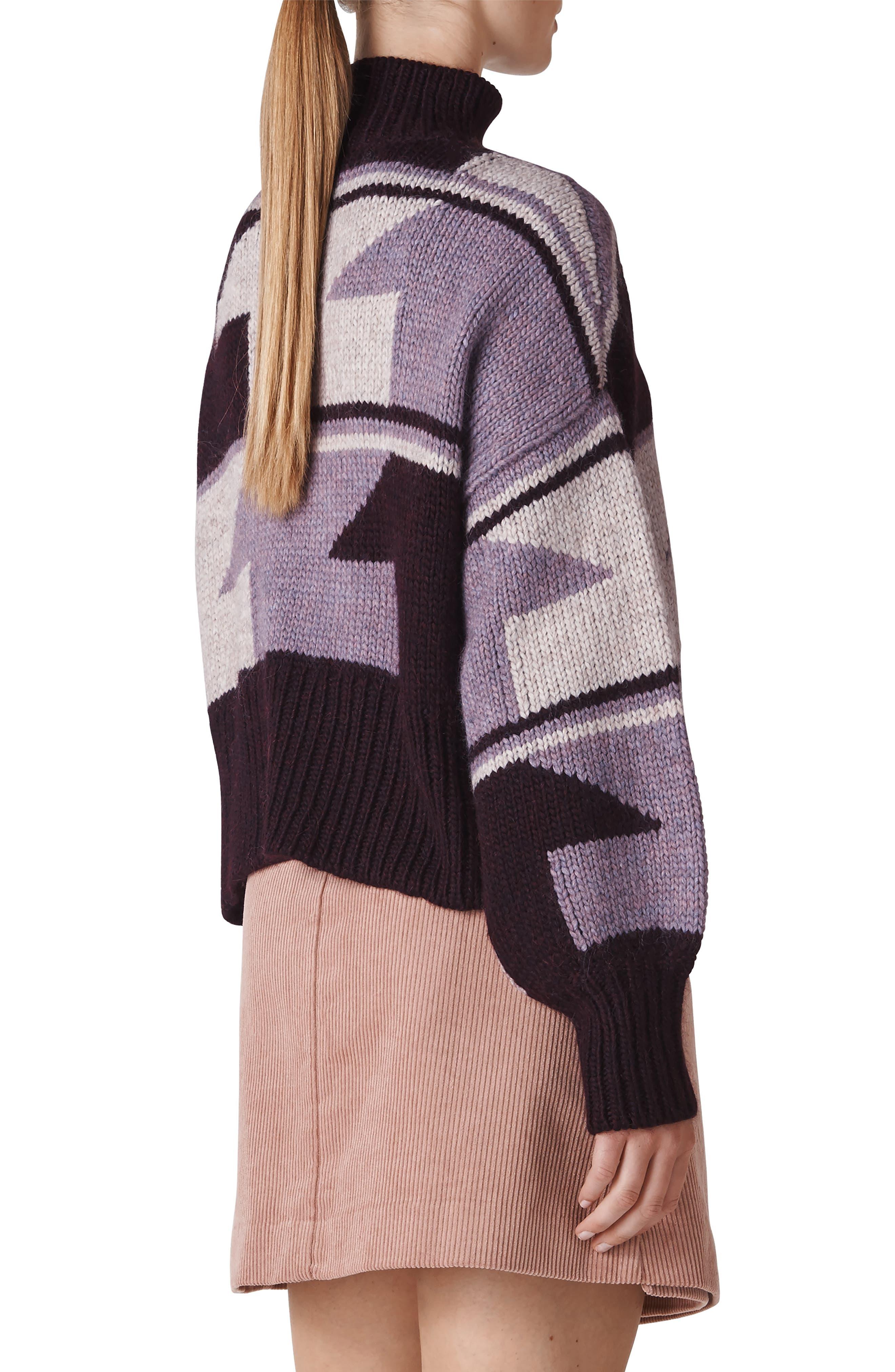 Intarsia Funnel Neck Sweater,                             Alternate thumbnail 2, color,                             500