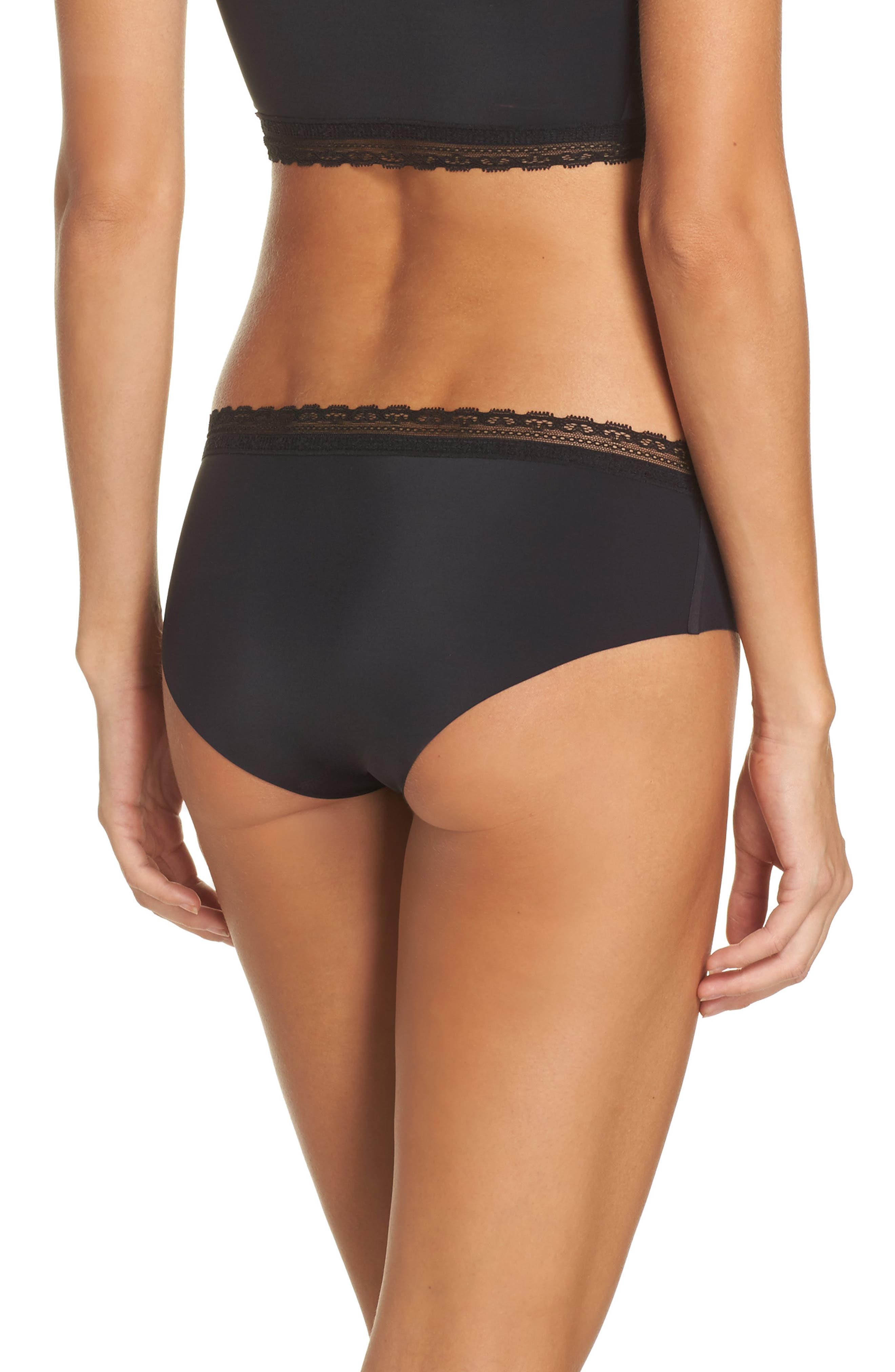 Almost Naked Lace Trim Hipster Briefs,                             Alternate thumbnail 2, color,                             BLACK