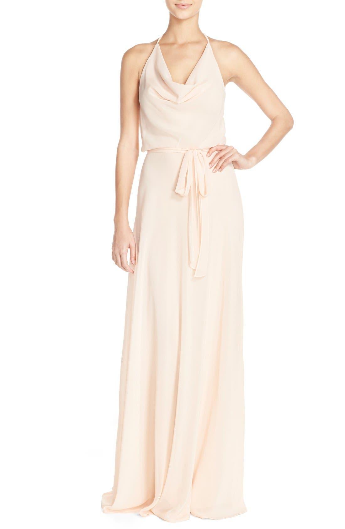 'Alyssa' Cowl Neck Chiffon Halter Gown,                         Main,                         color, 271