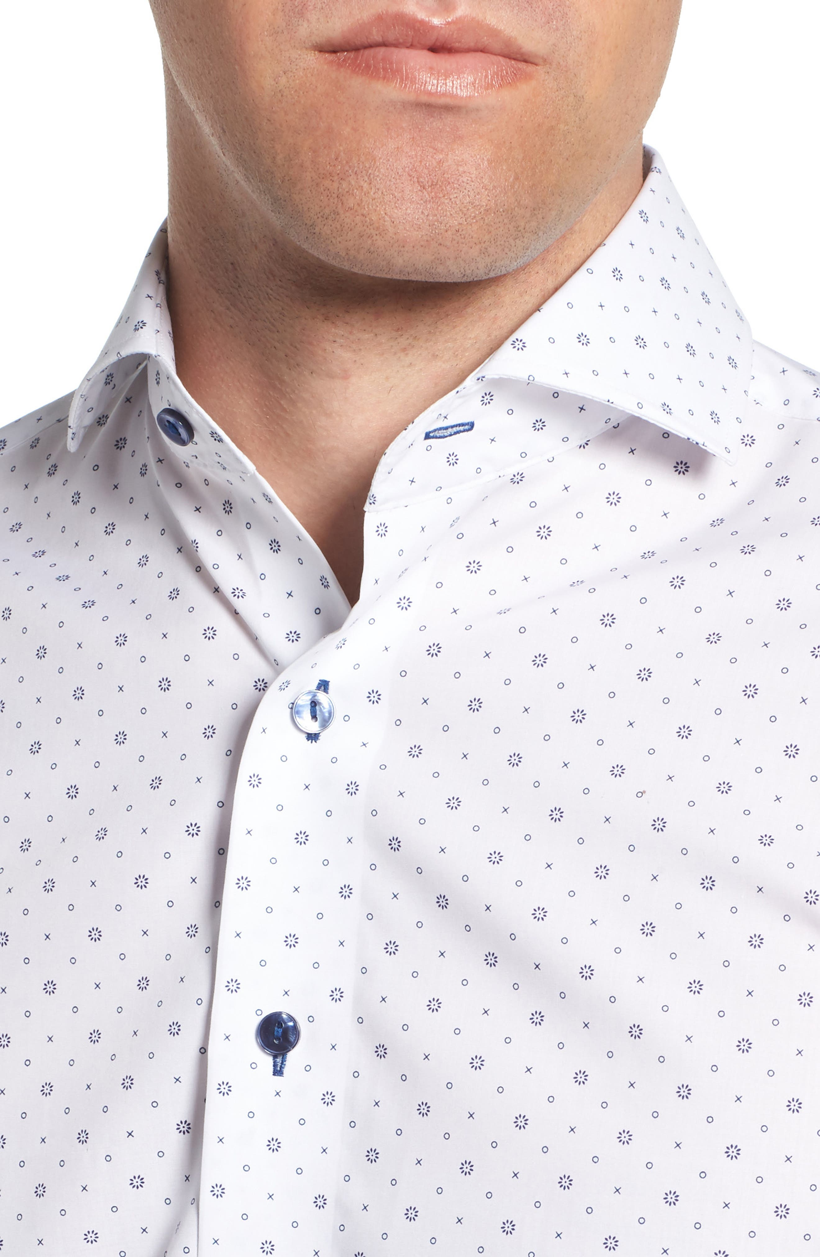 Trim Fit Floral Dress Shirt,                             Alternate thumbnail 2, color,                             100