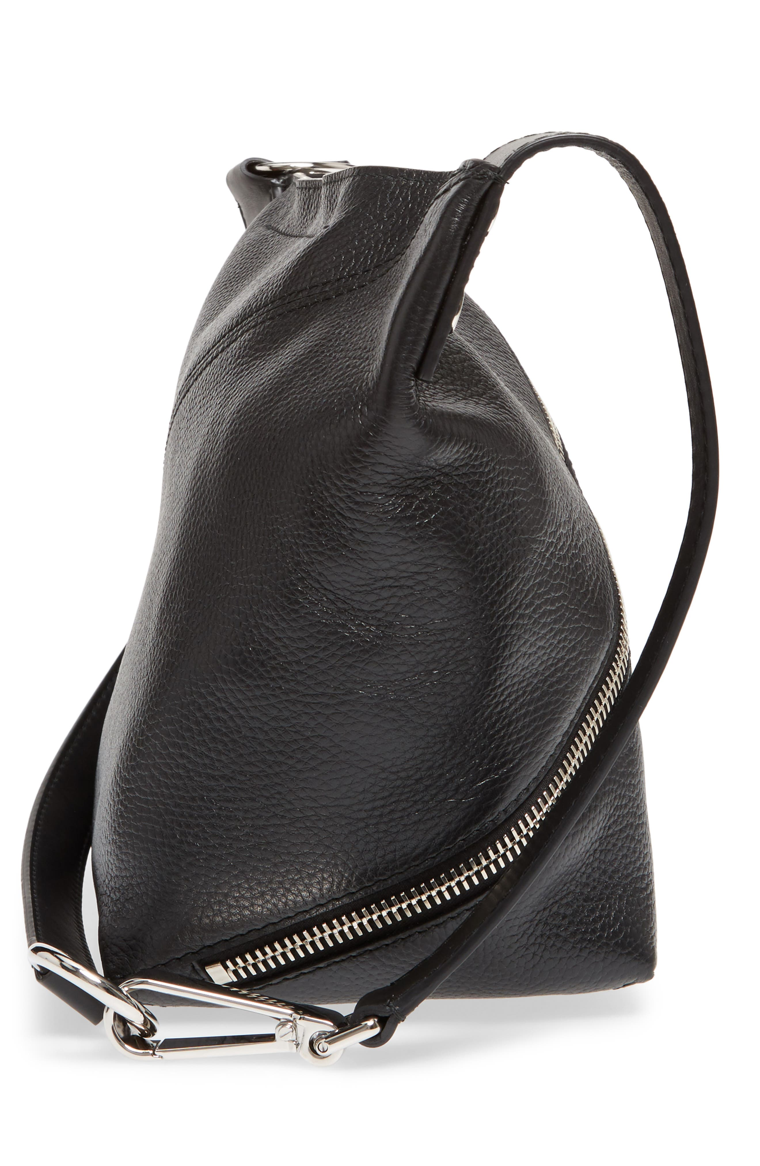 Small Leather Hobo Bag,                             Alternate thumbnail 5, color,                             001