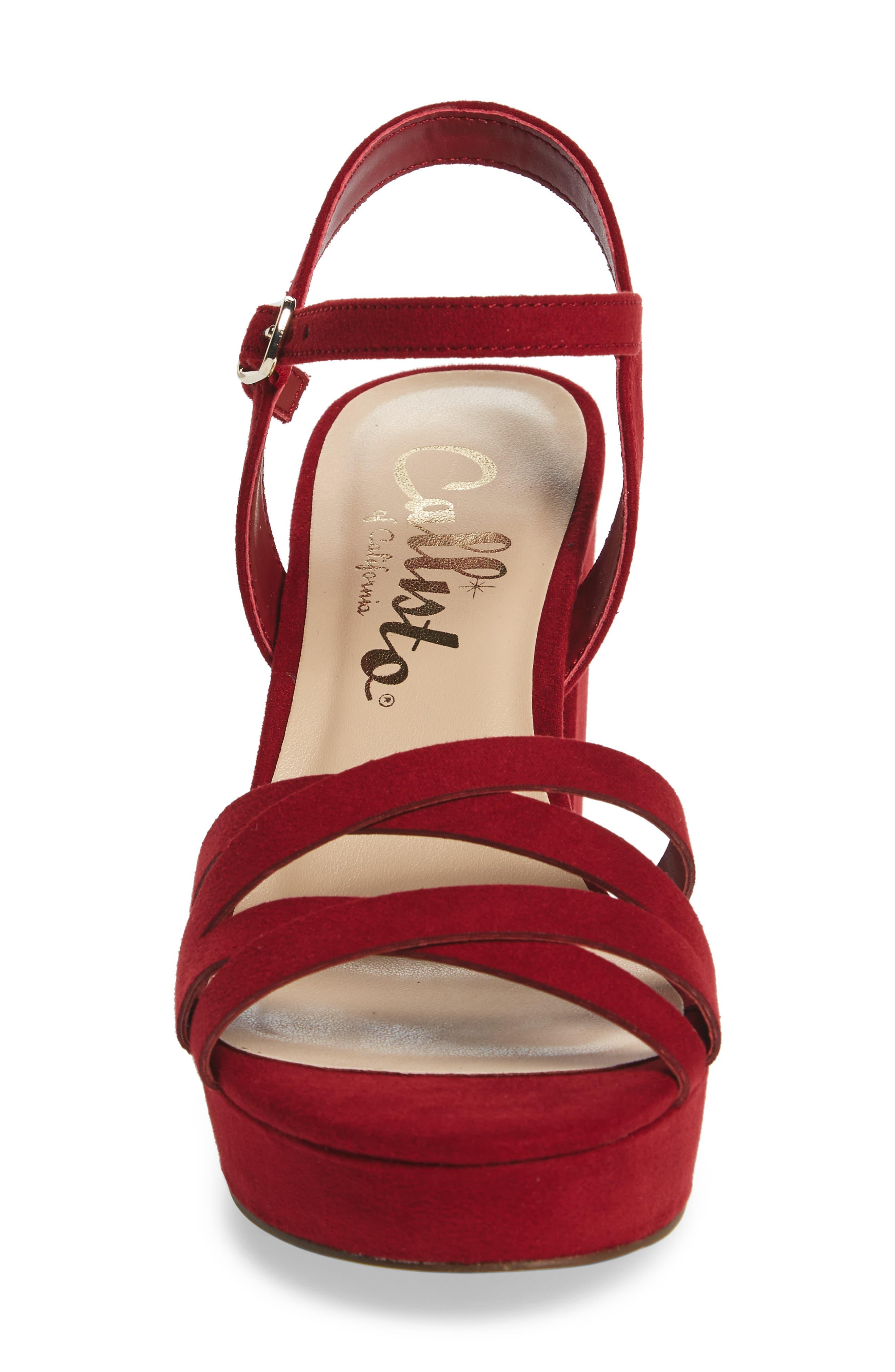 Paxx Platform Sandal,                             Alternate thumbnail 4, color,                             RED FAUX SUEDE