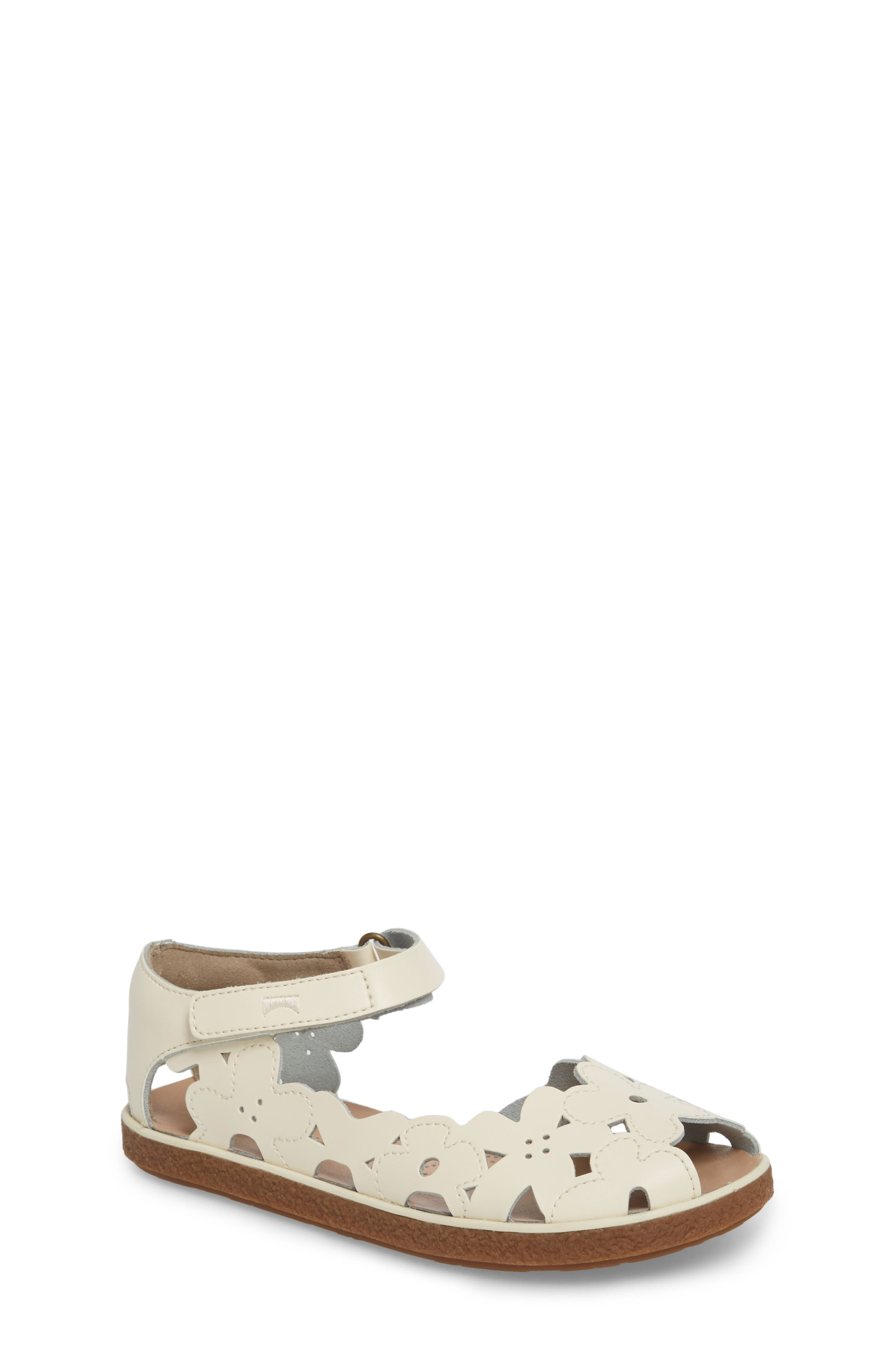 Twins Perforated Sandal,                             Main thumbnail 1, color,                             WHITE