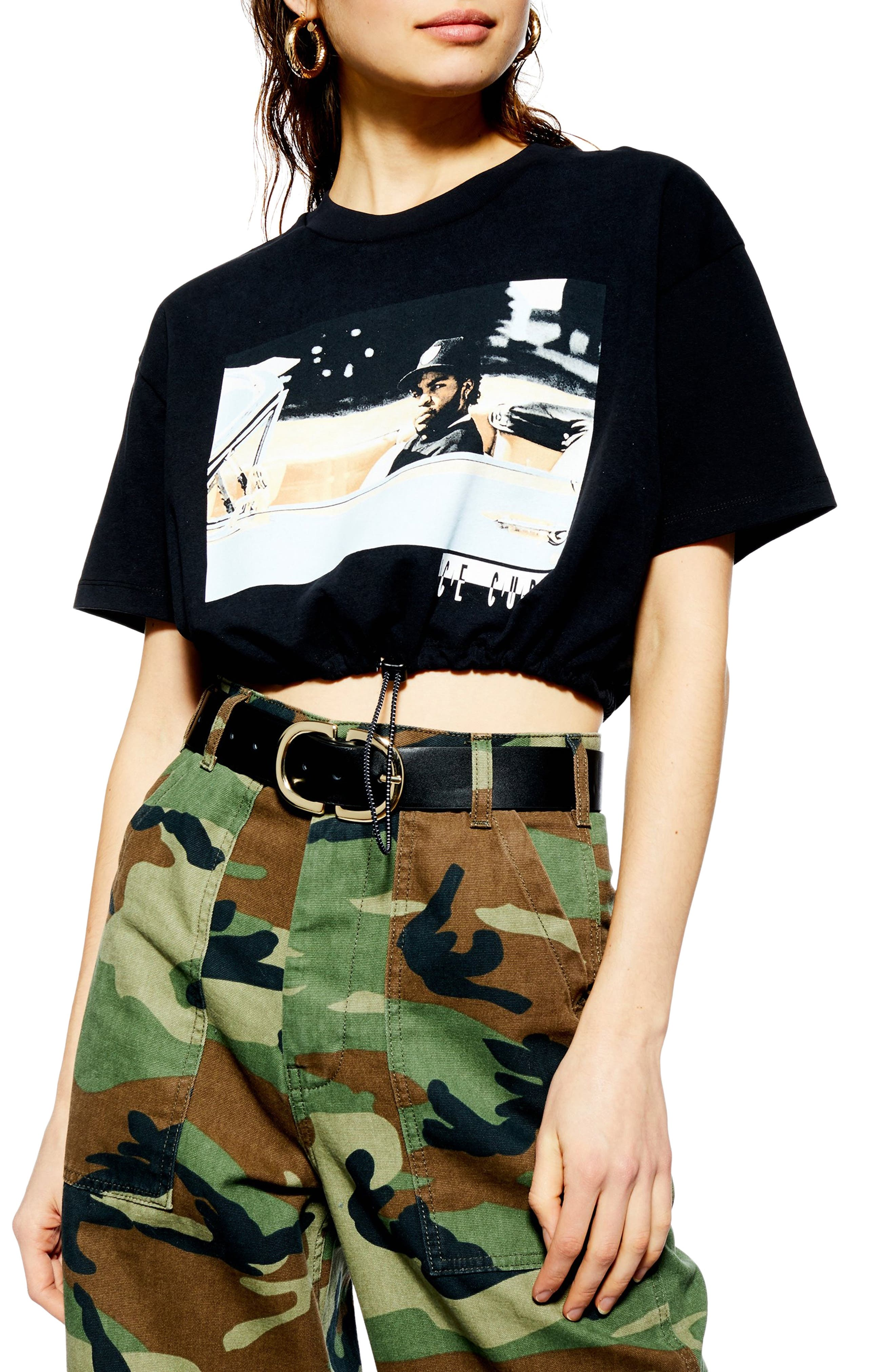 Ice Cube Crop Drawstring Tee, Main, color, BLACK MULTI