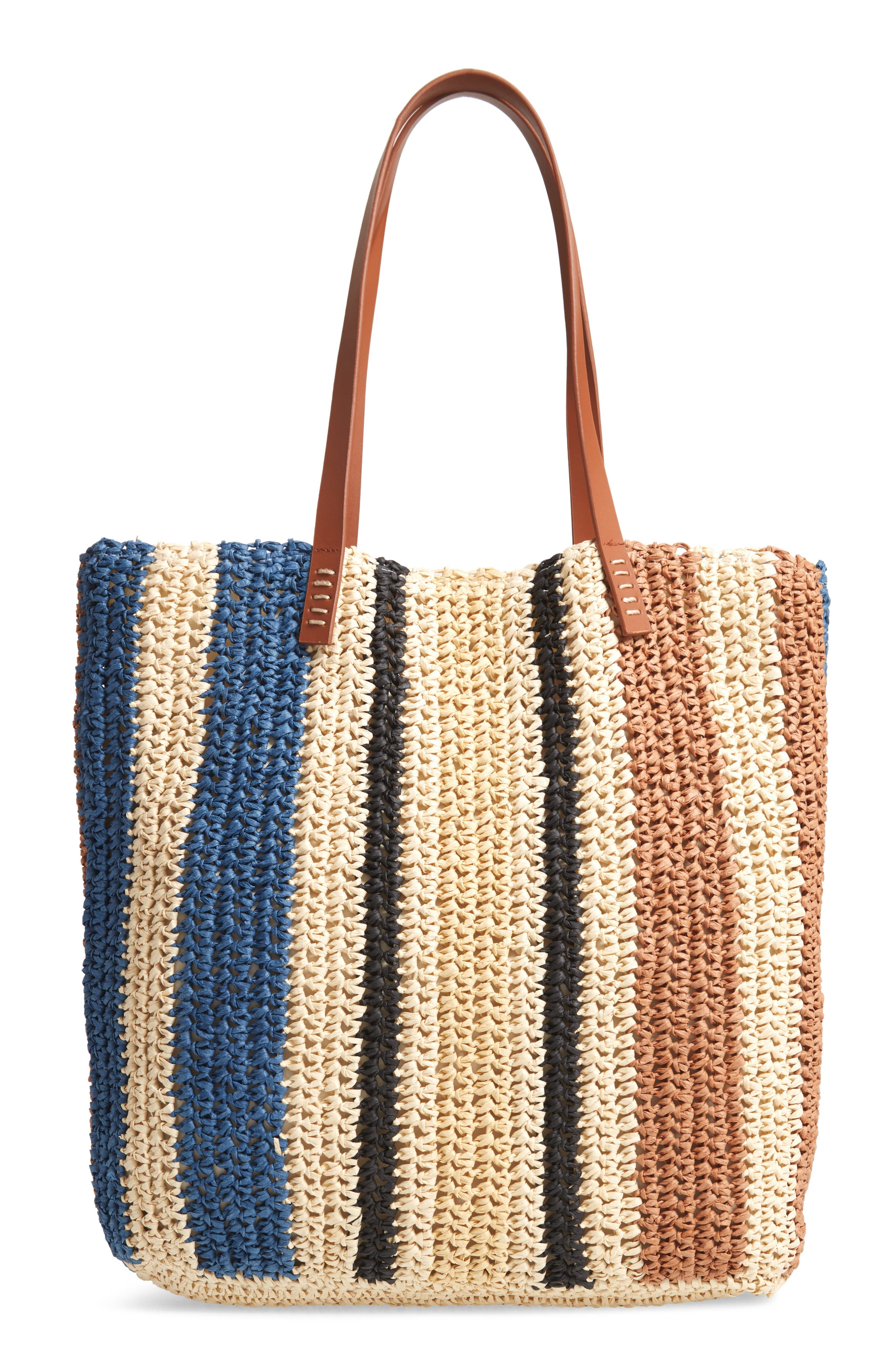 Stripe North/South Raffia Tote,                         Main,                         color, MULTI
