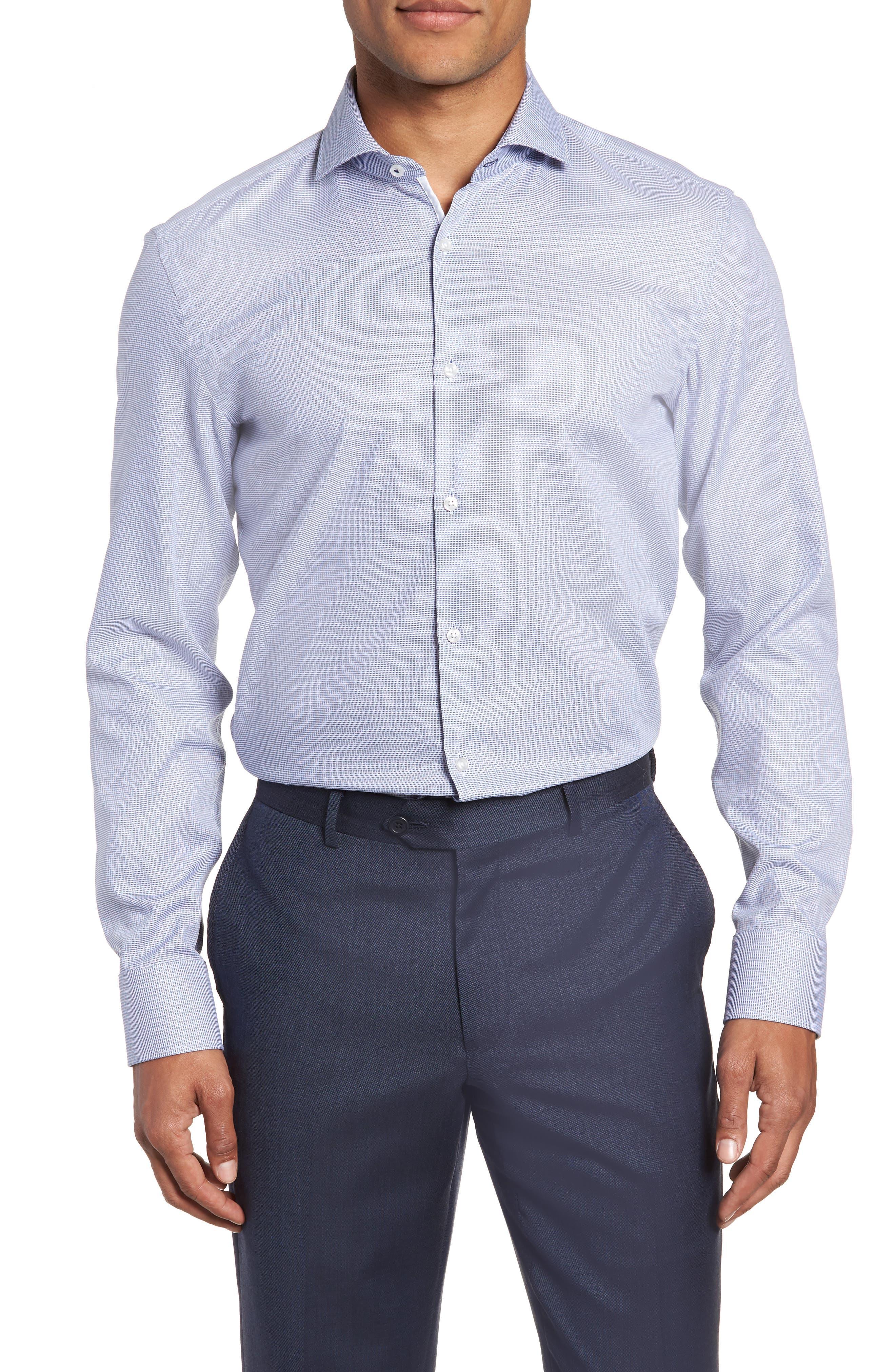 x Nordstrom Jerrin Slim Fit Solid Dress Shirt,                             Main thumbnail 1, color,                             BLUE