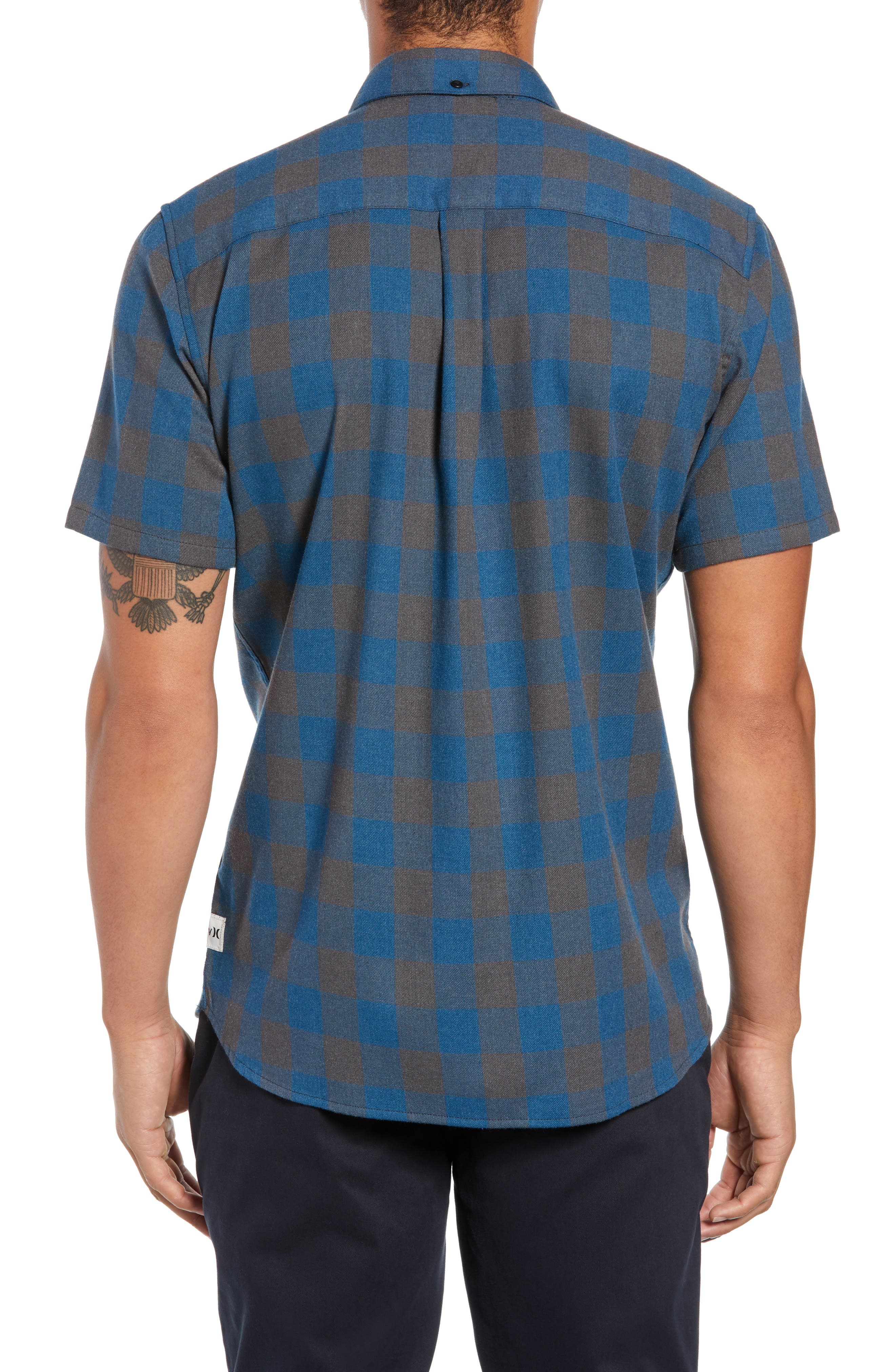 Bison Check Twill Woven Shirt,                             Alternate thumbnail 3, color,                             BLUE FORCE HEATHER
