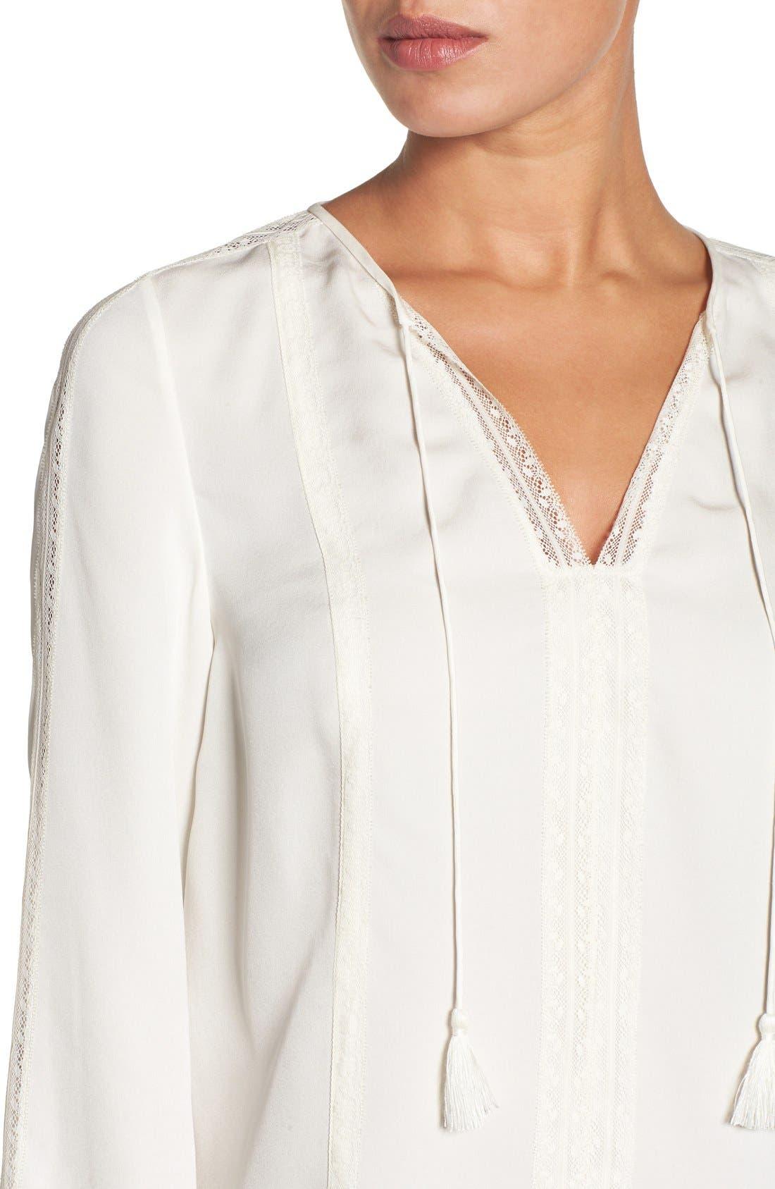 'Josette' Lace Trim Silk Blouse,                             Alternate thumbnail 5, color,                             906