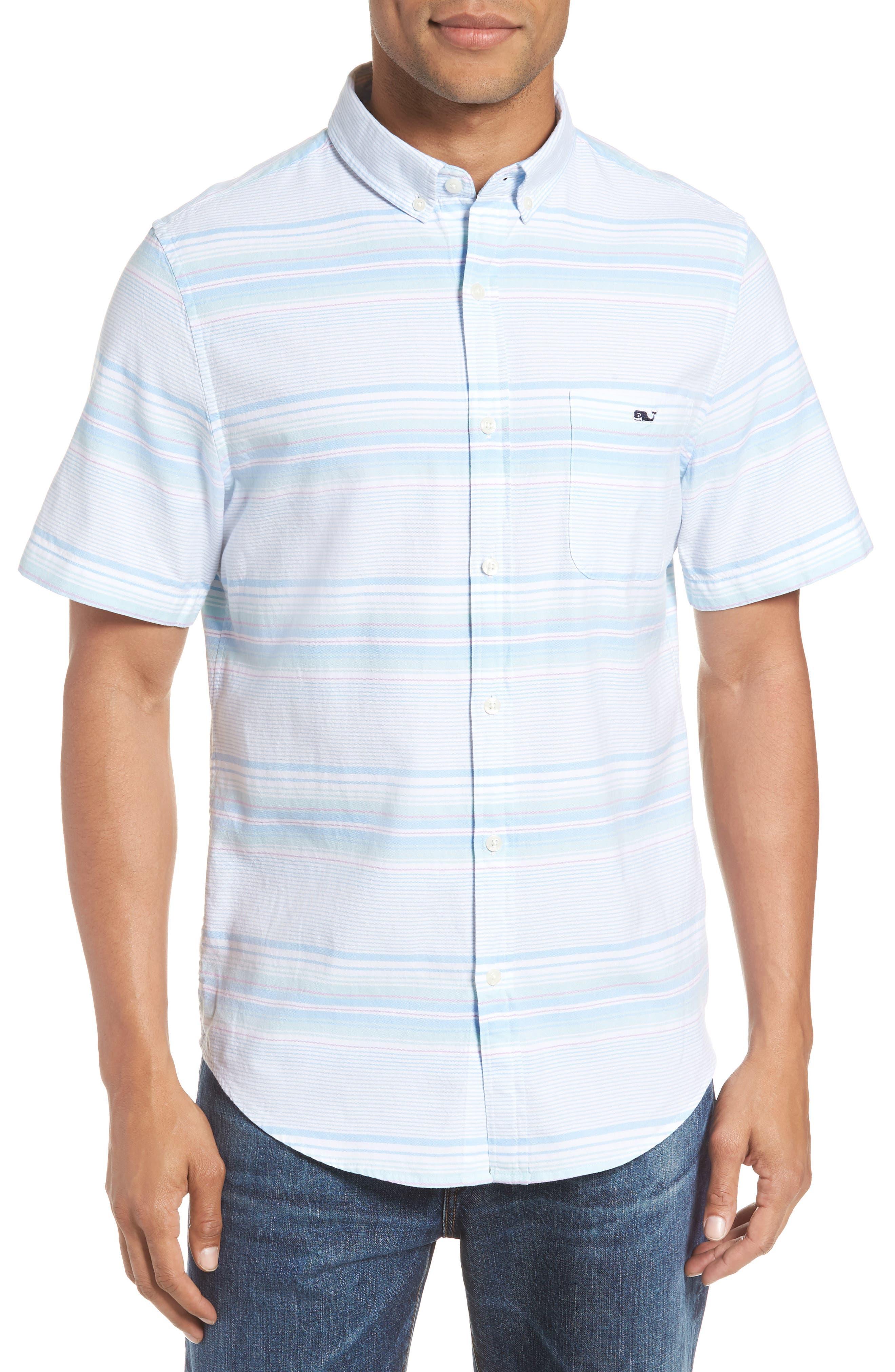 Sand Piper Tucker Regular Fit Stripe Oxford Sport Shirt,                         Main,                         color, POOL SIDE