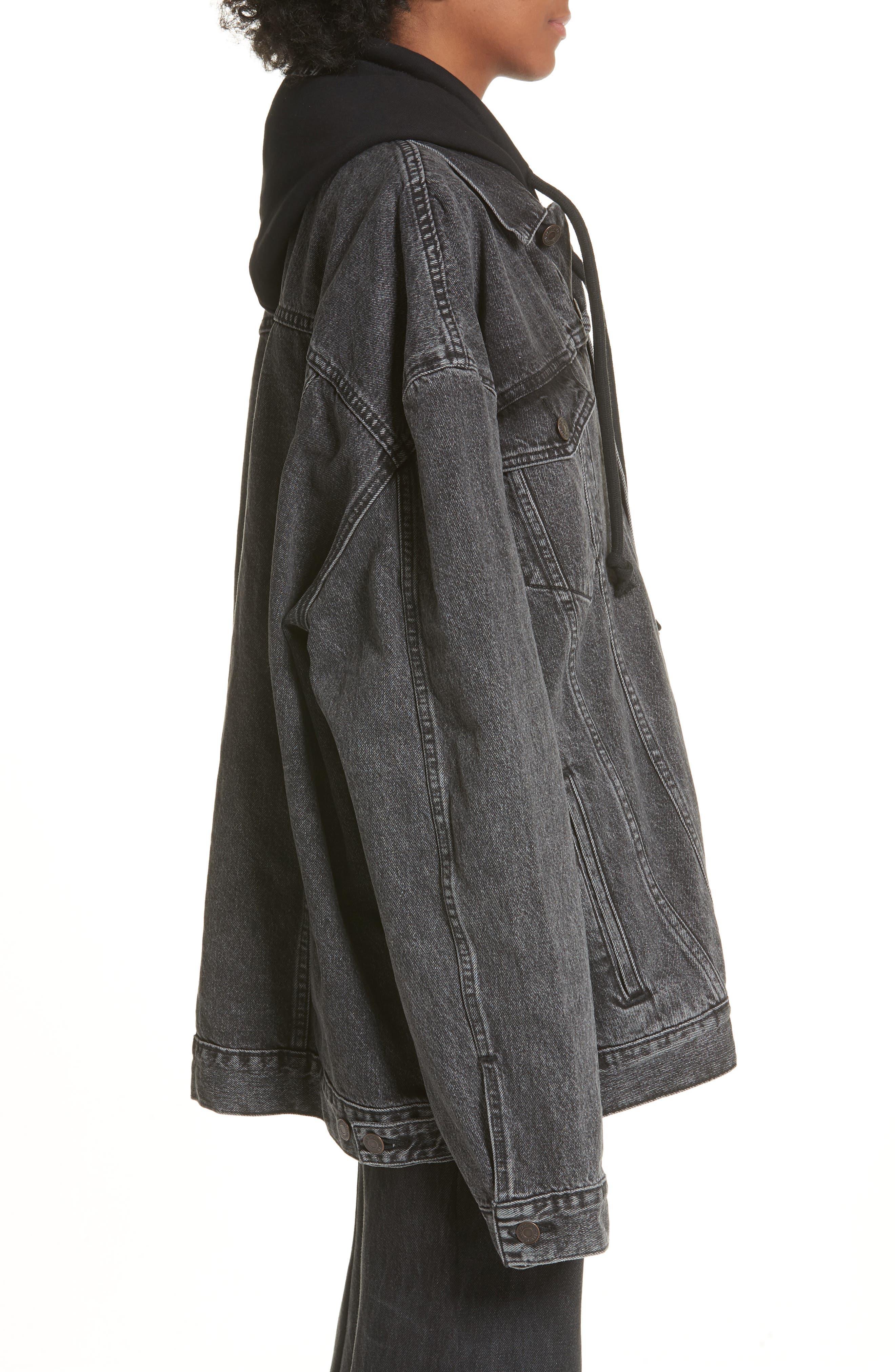 Oversized Removable Hood Denim Jacket,                             Alternate thumbnail 4, color,                             001