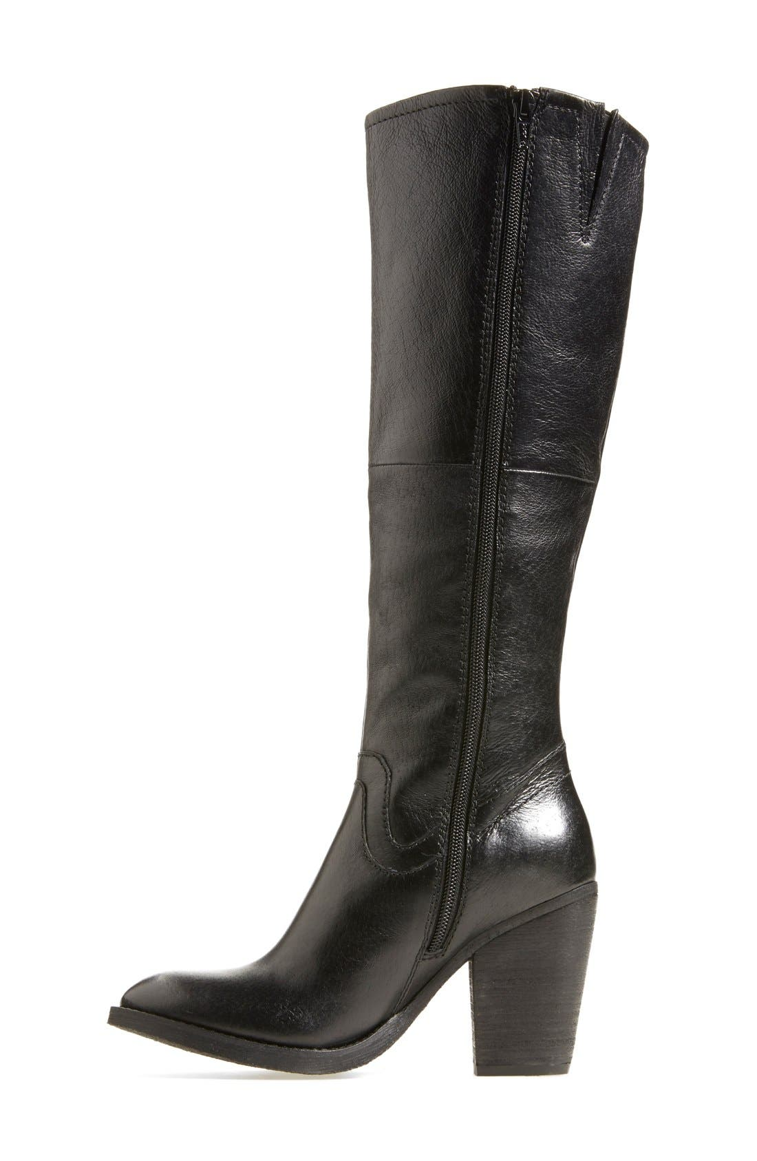 'Carrter' Knee High Leather Boot,                             Alternate thumbnail 5, color,                             001