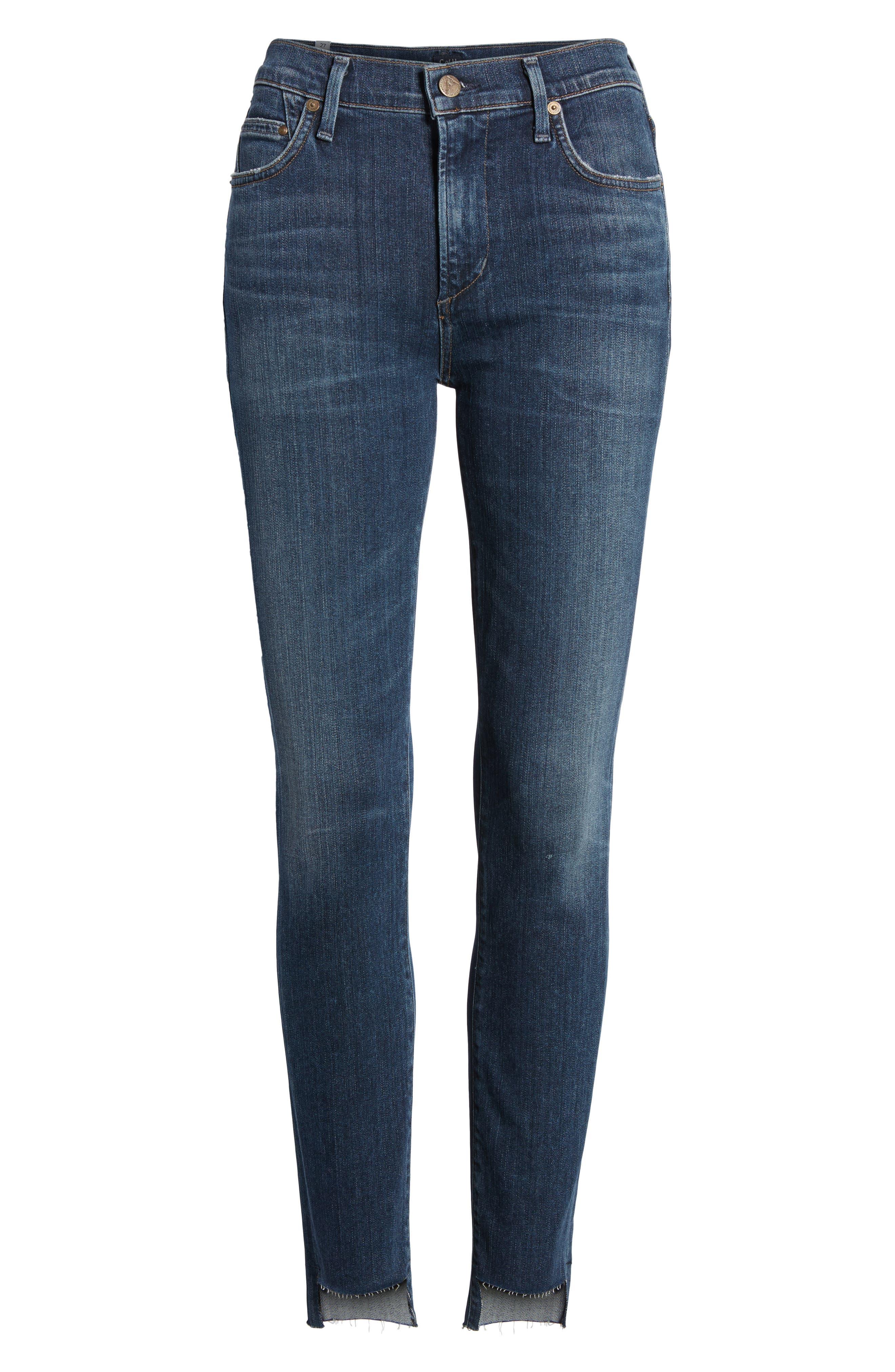 Rocket Step Hem Skinny Jeans,                             Alternate thumbnail 7, color,                             401