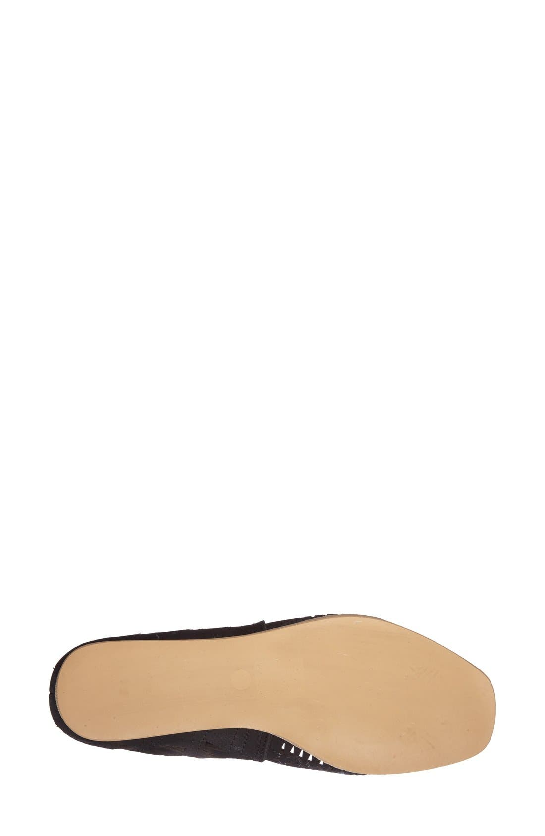 'Rodillo' Wedge Sandal,                             Alternate thumbnail 4, color,                             BLACK LEATHER