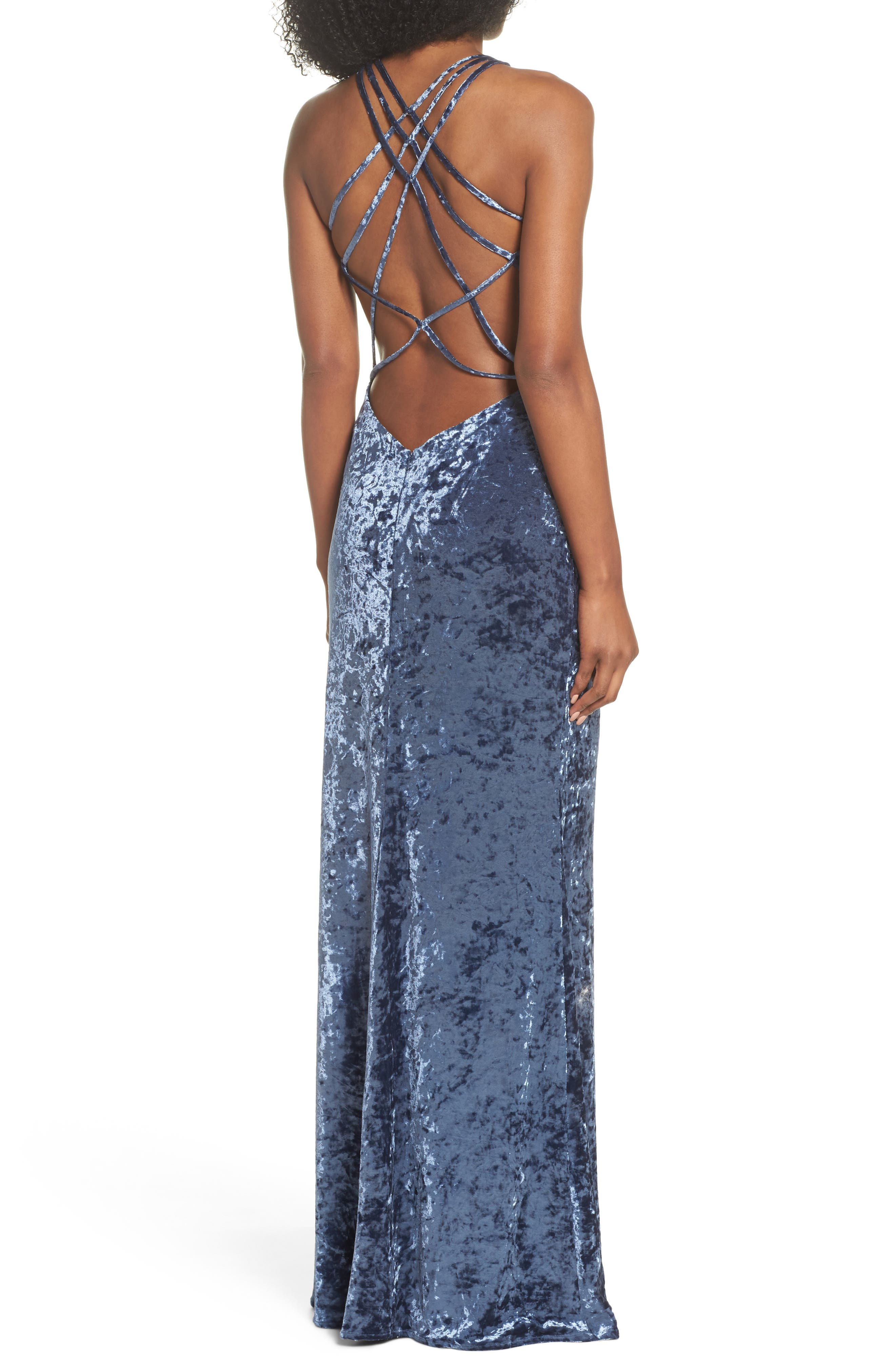 Strappy Crushed Velvet Gown,                             Alternate thumbnail 2, color,                             SLATE BLUE