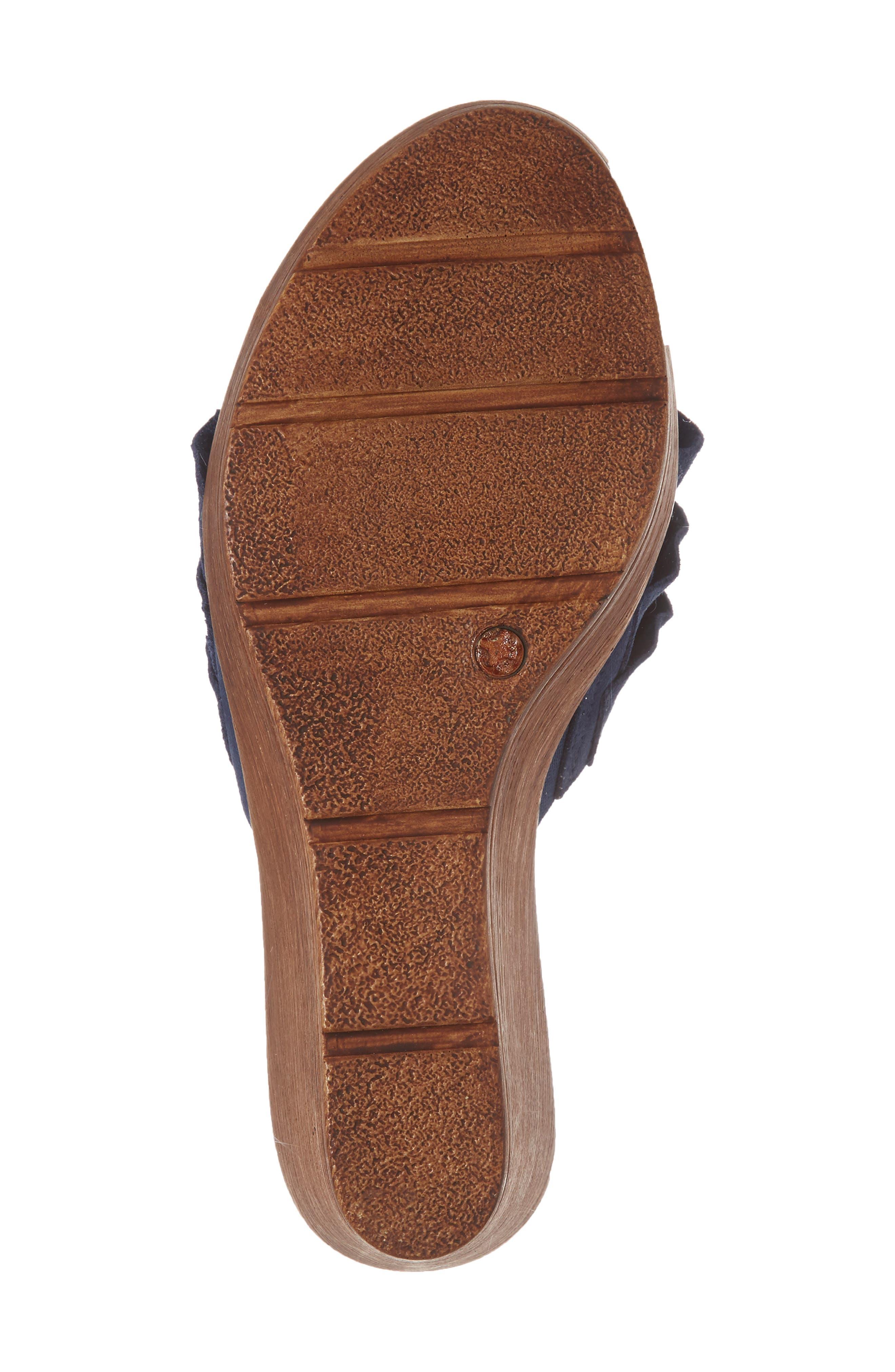 Bey Platform Wedge Sandal,                             Alternate thumbnail 6, color,                             NAVY SUEDE