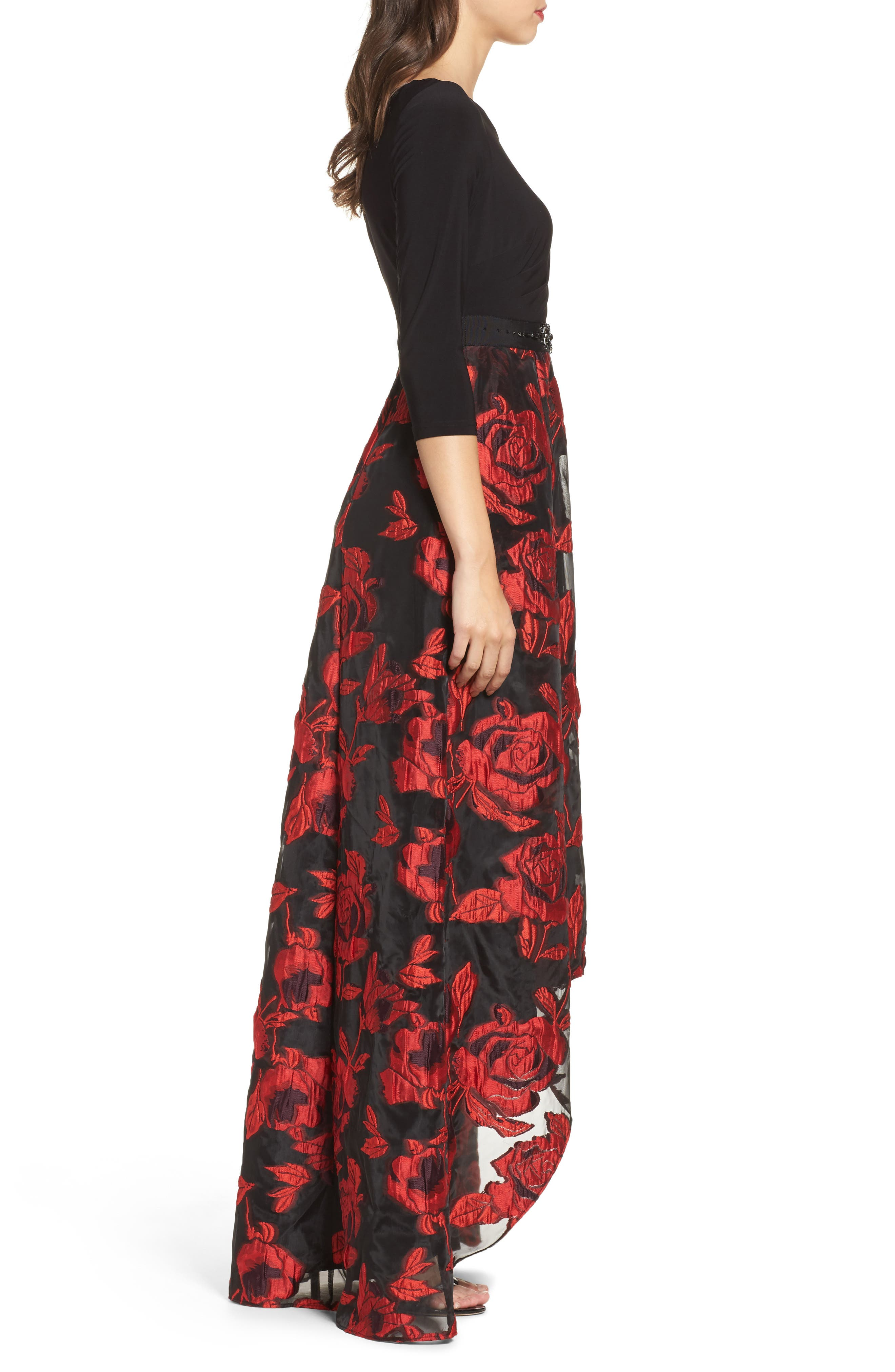 Rose Organza High/Low Maxi Dress,                             Alternate thumbnail 3, color,                             010