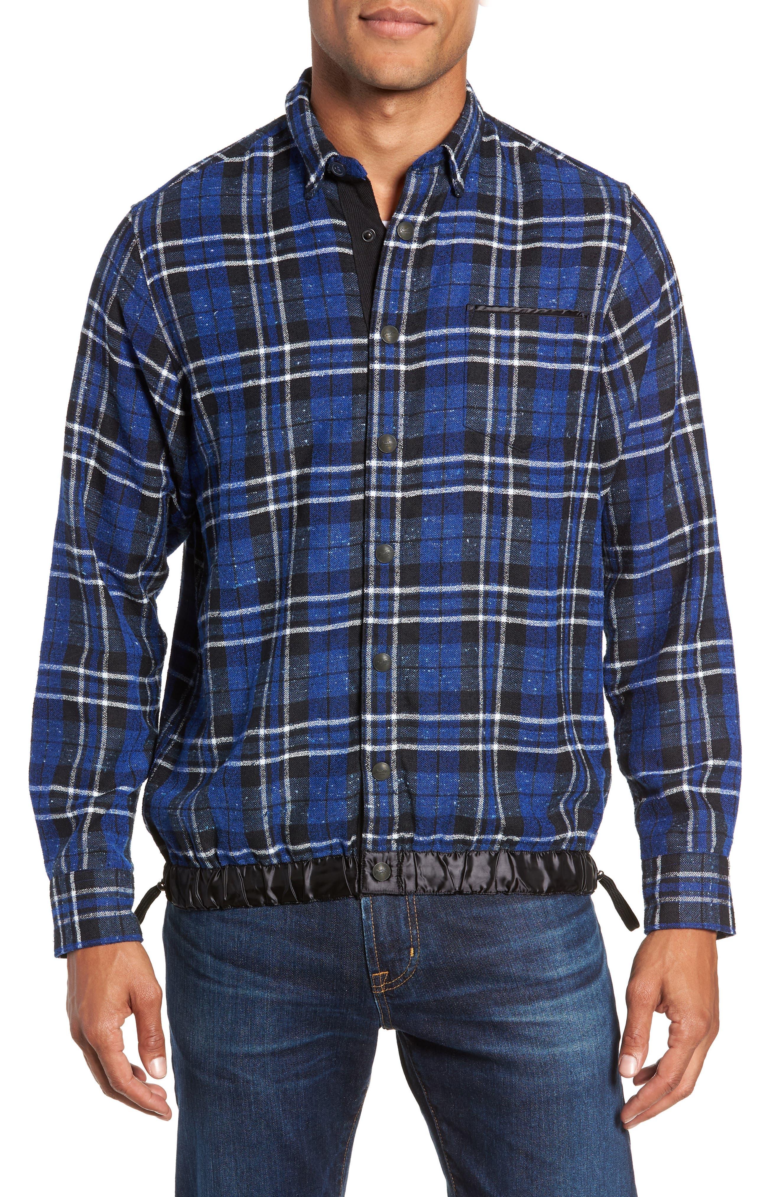 Slim Fit Tartan Shirt Jacket,                             Alternate thumbnail 2, color,                             NAVY