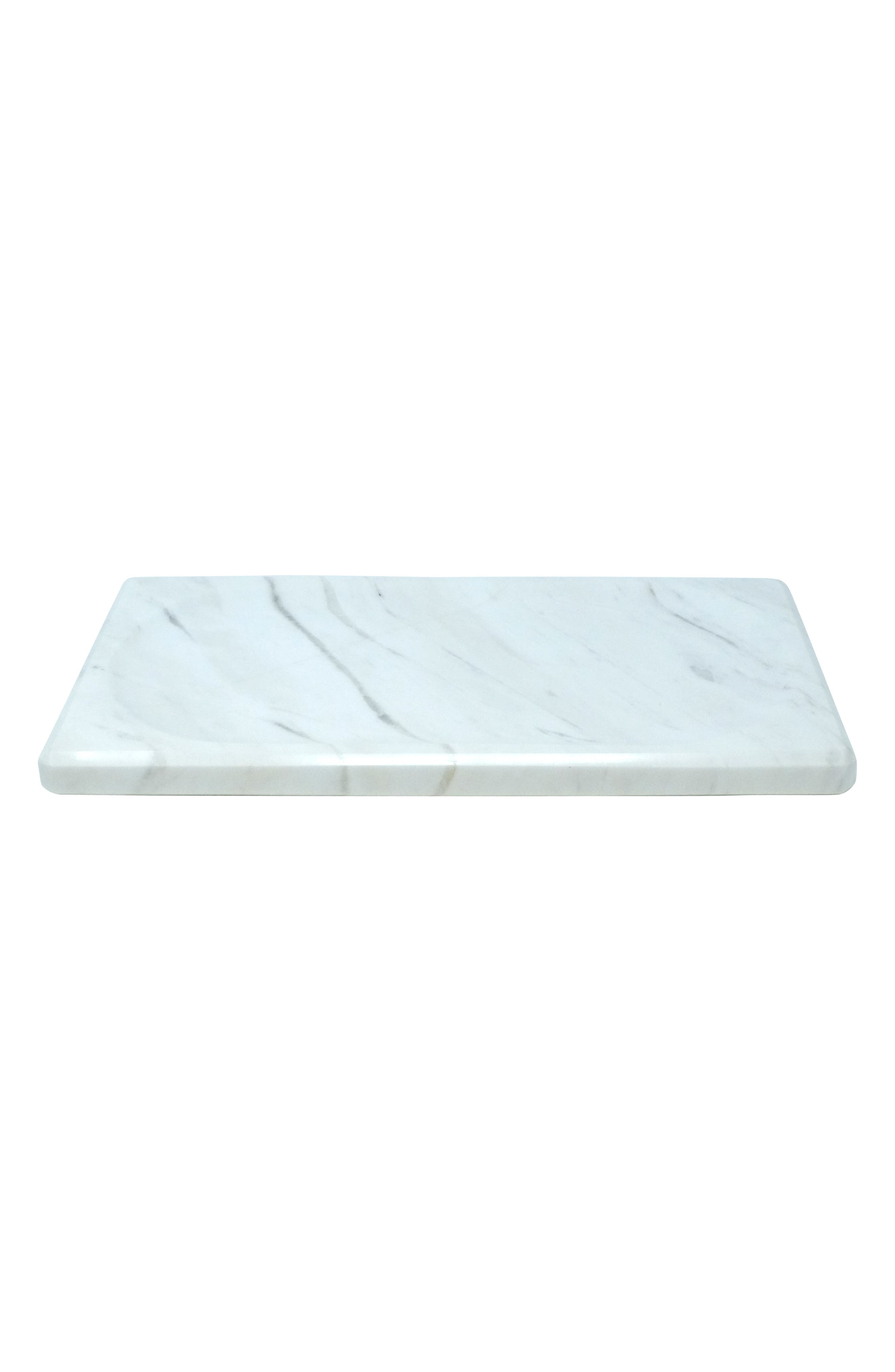 Luna White Marble Tray, Main, color, WHITE