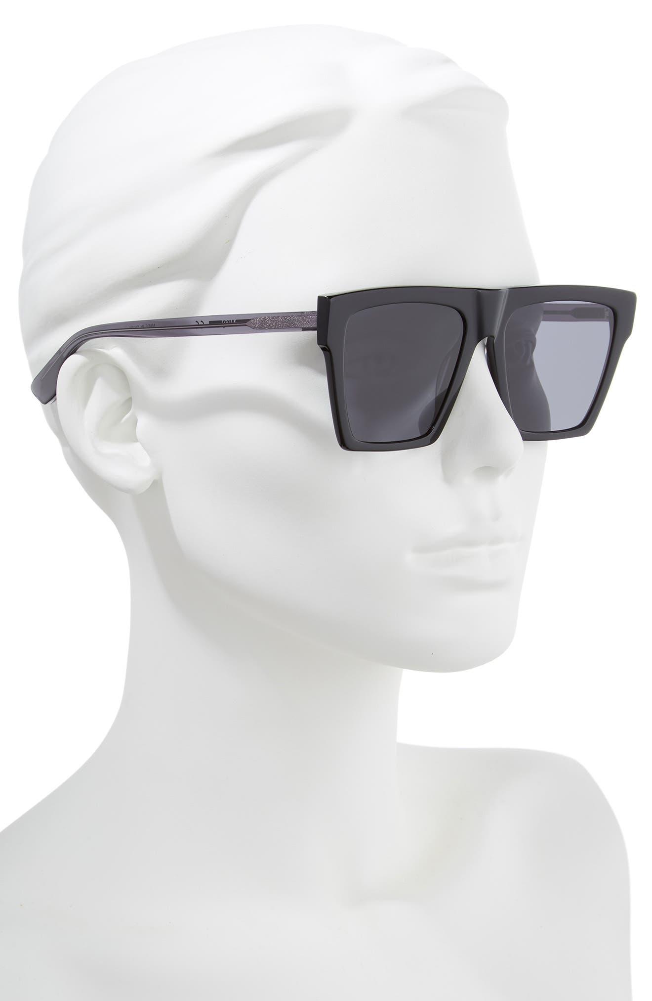 Alexander McQueen 54mm Flat Top Sunglasses,                             Alternate thumbnail 2, color,                             BLACK