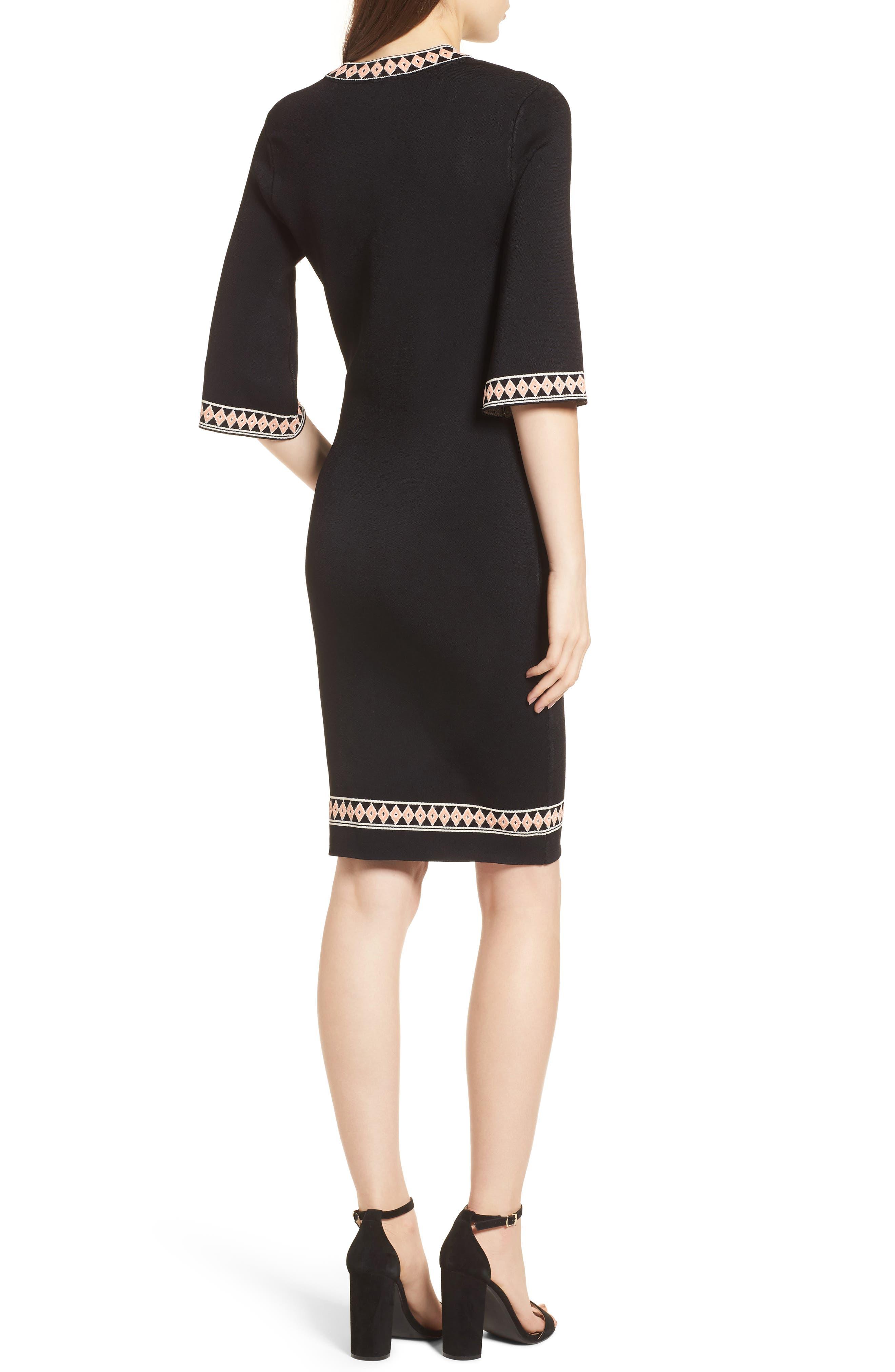 Body-Con Knit Dress,                             Alternate thumbnail 2, color,                             BLACK