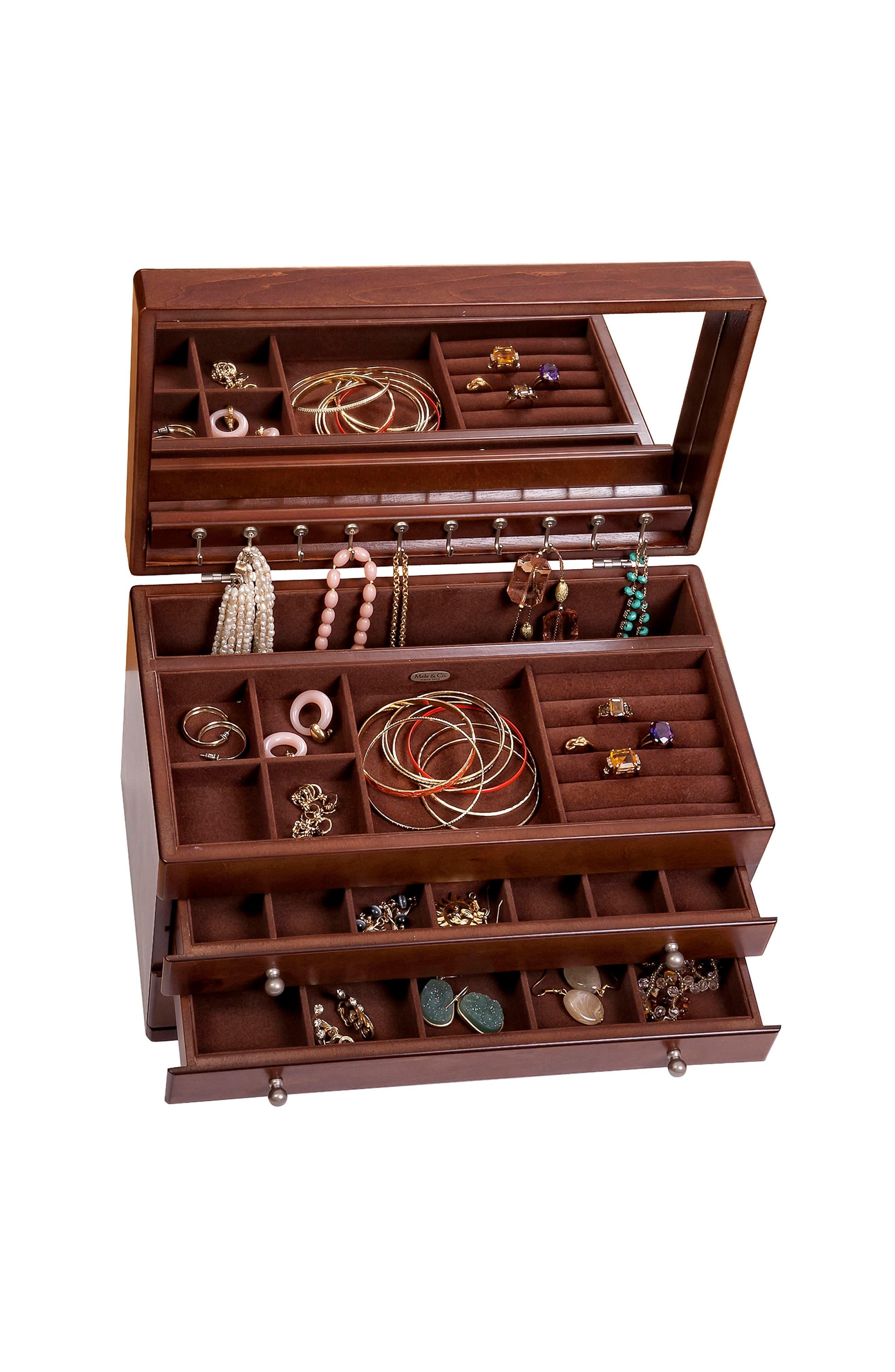 Brigitte Wooden Jewelry Box,                             Alternate thumbnail 4, color,                             BROWN