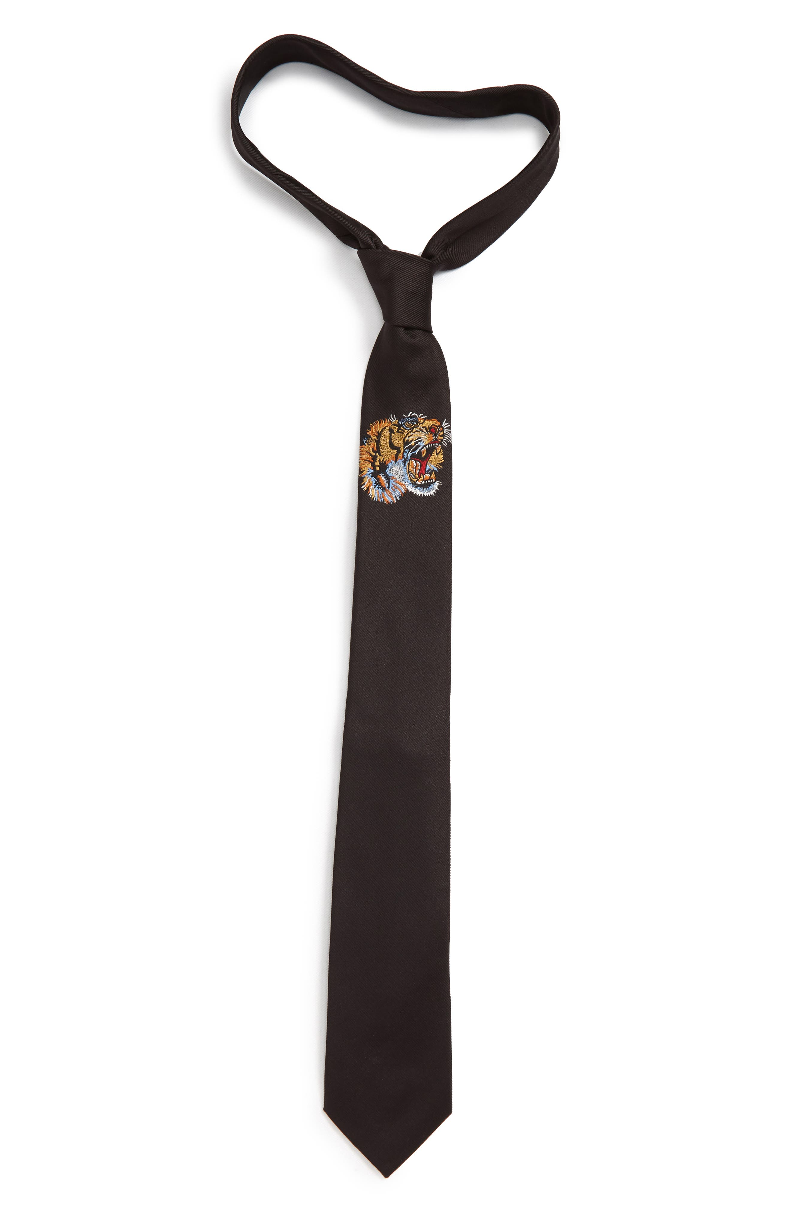 Tiger Embroidered Silk Tie,                         Main,                         color, BLACK