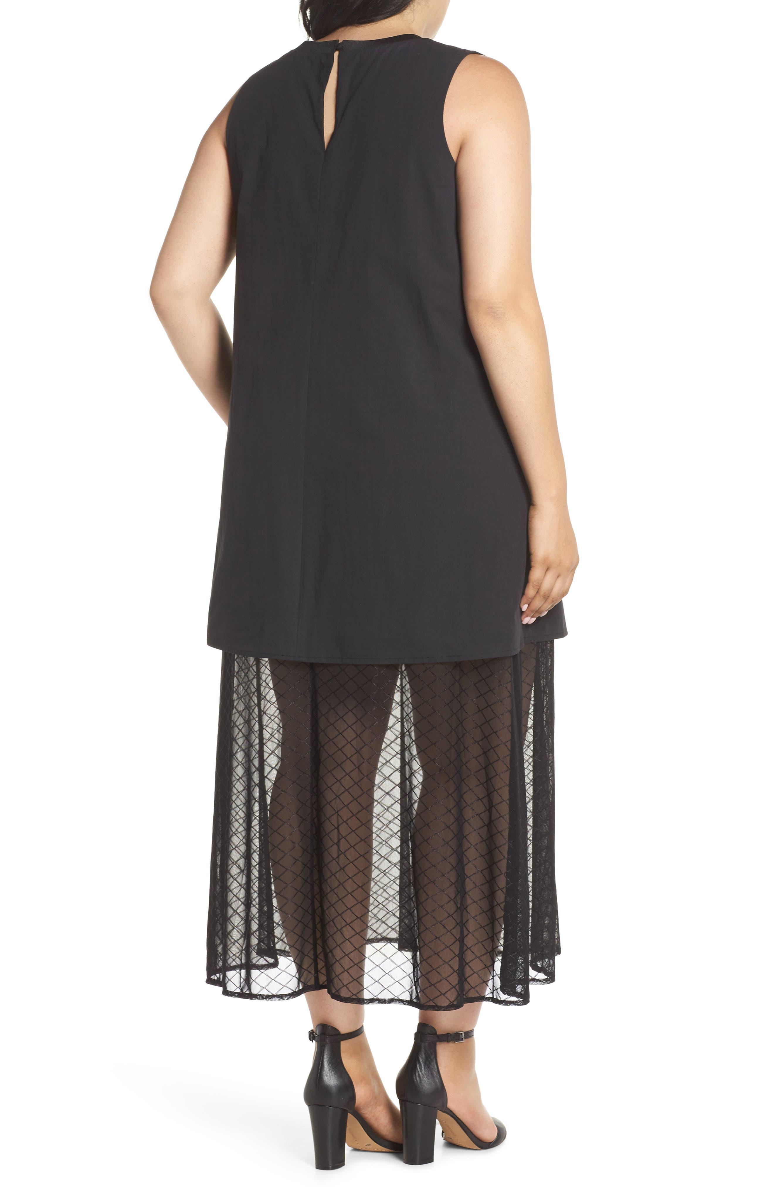 The Agata Sheer Hem Maxi Dress,                             Alternate thumbnail 2, color,                             BLACK