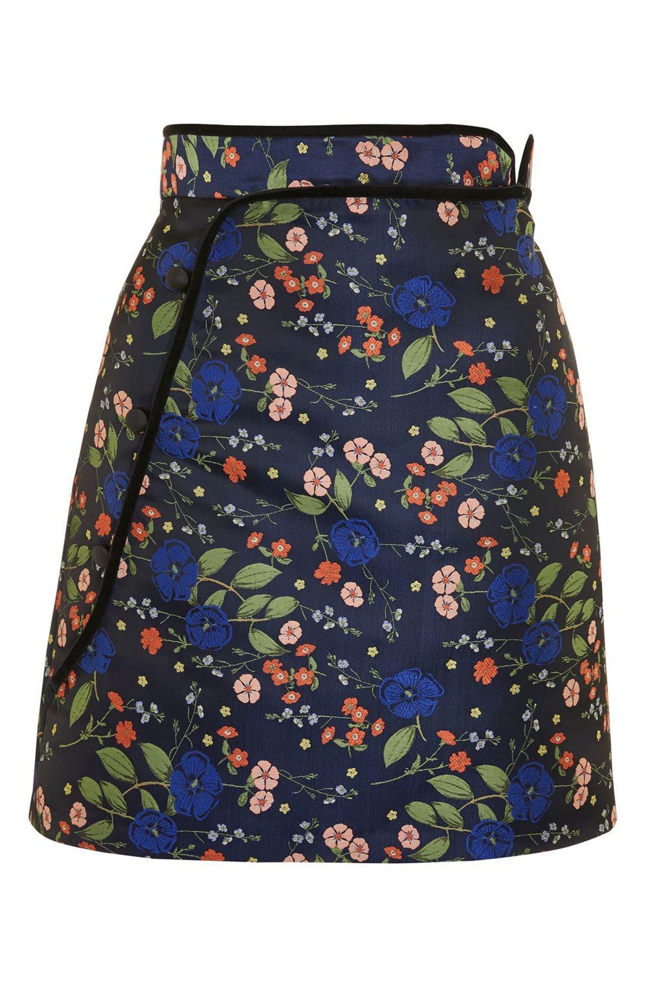 Satin Jacquard Wrap Skirt,                             Alternate thumbnail 2, color,                             410