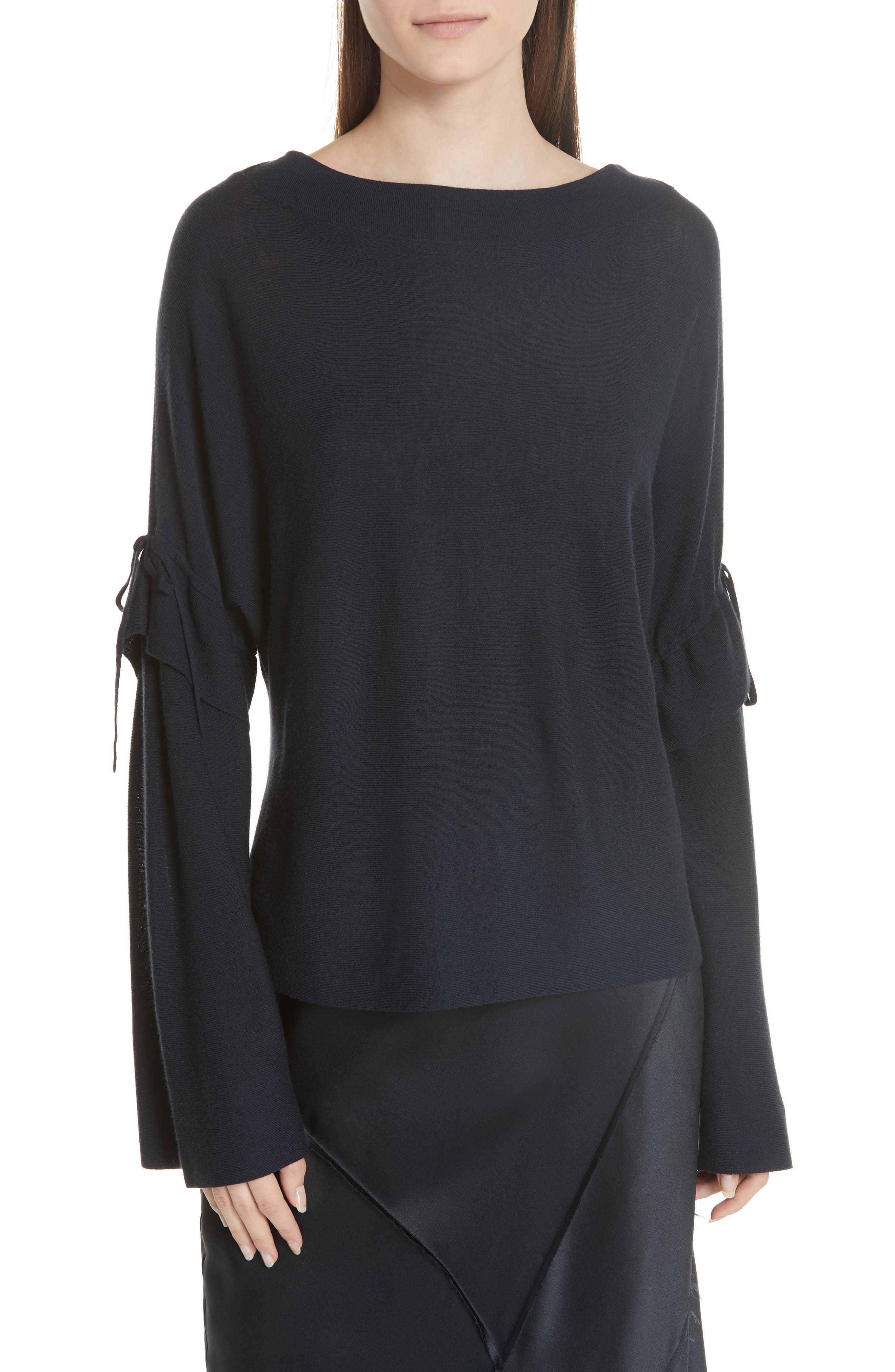 Vince Tie Sleeve Merino Wool Sweater, Blue