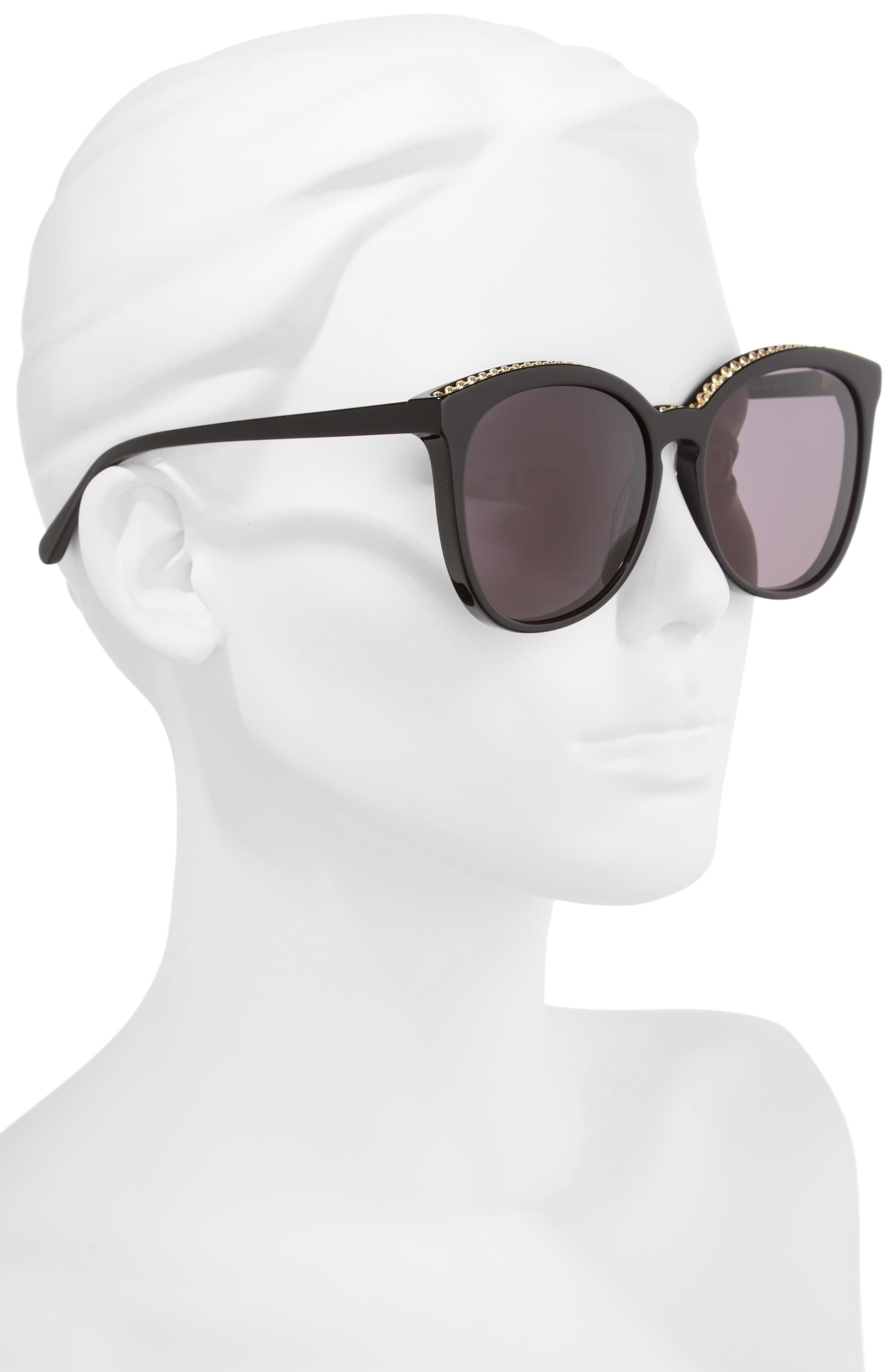 59mm Cat Eye Sunglasses,                             Alternate thumbnail 2, color,                             BLACK