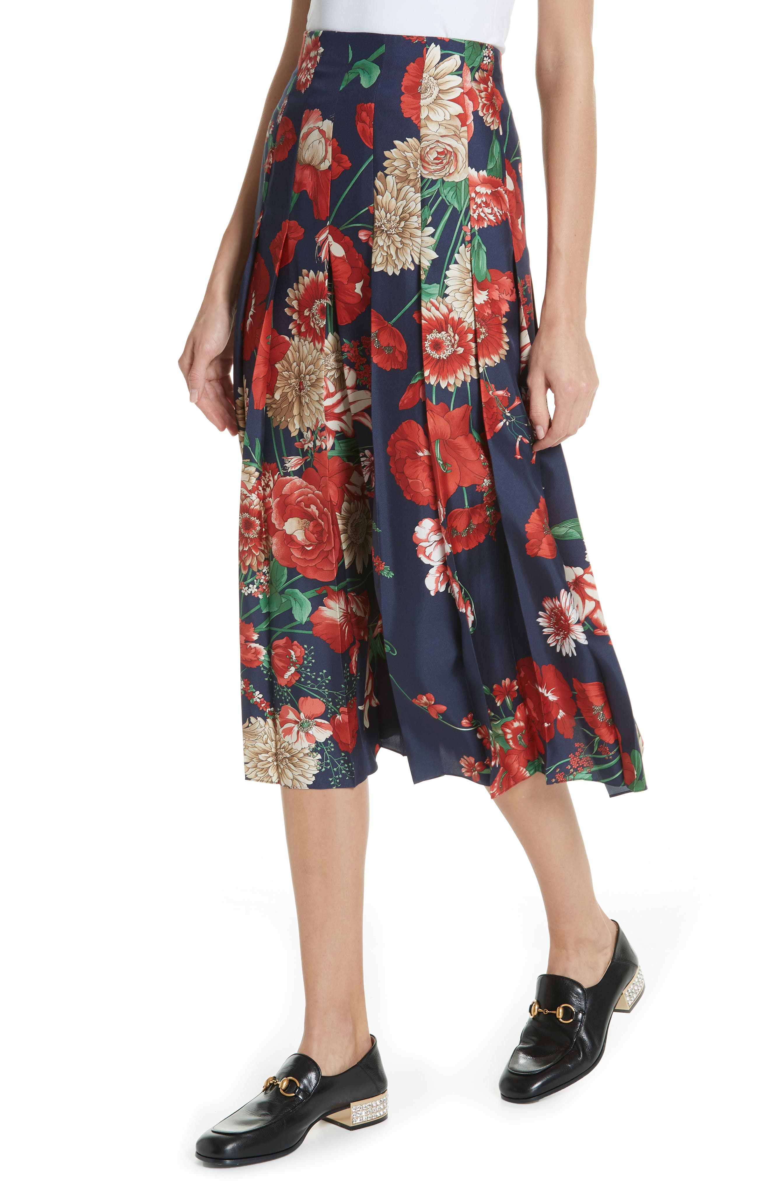 Spring Bouquet Print Silk Pleated Skirt,                             Alternate thumbnail 4, color,                             BLUE/ RED PRINT