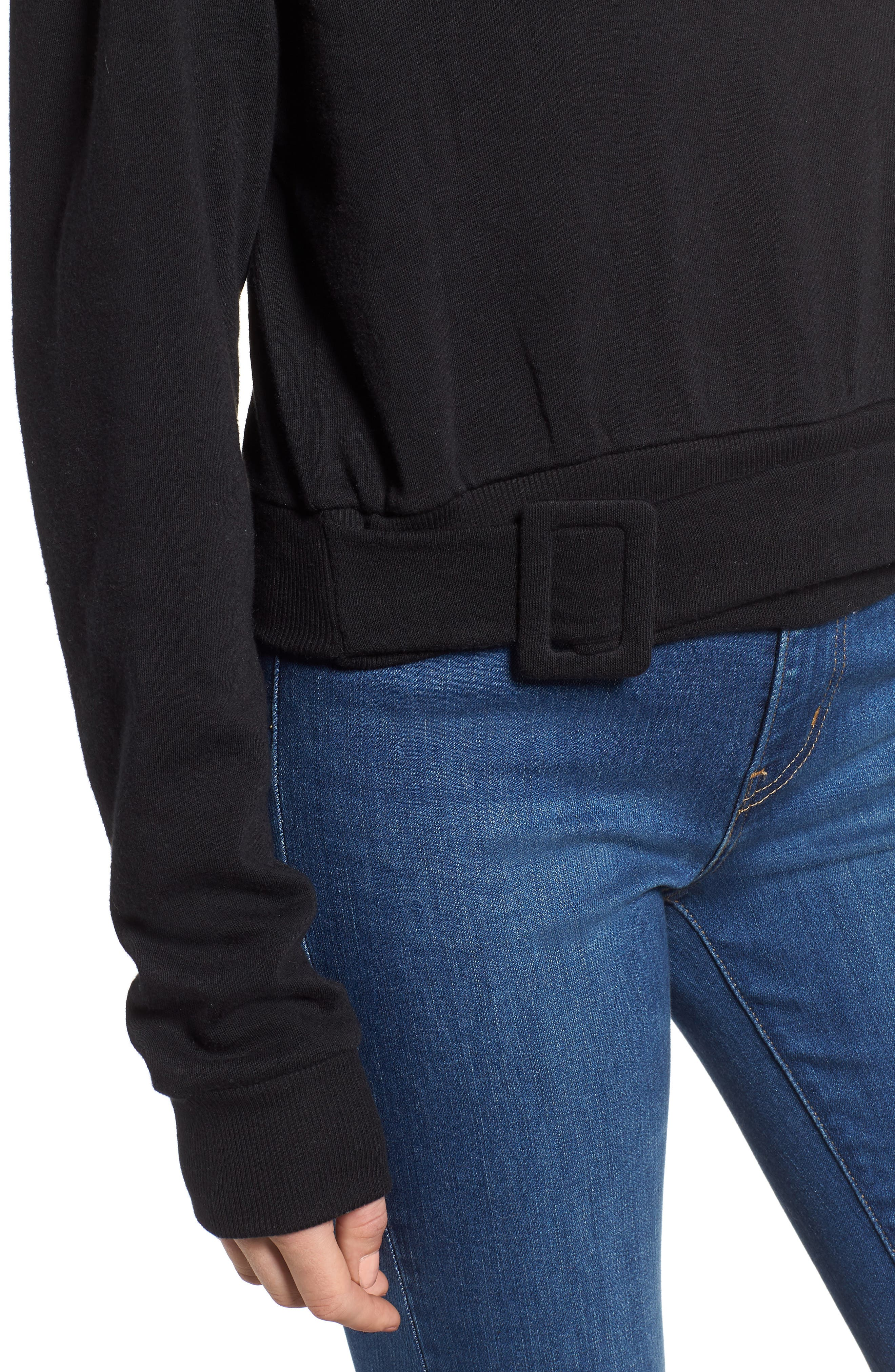 Belted Fleece Sweatshirt,                             Alternate thumbnail 4, color,                             BLACK