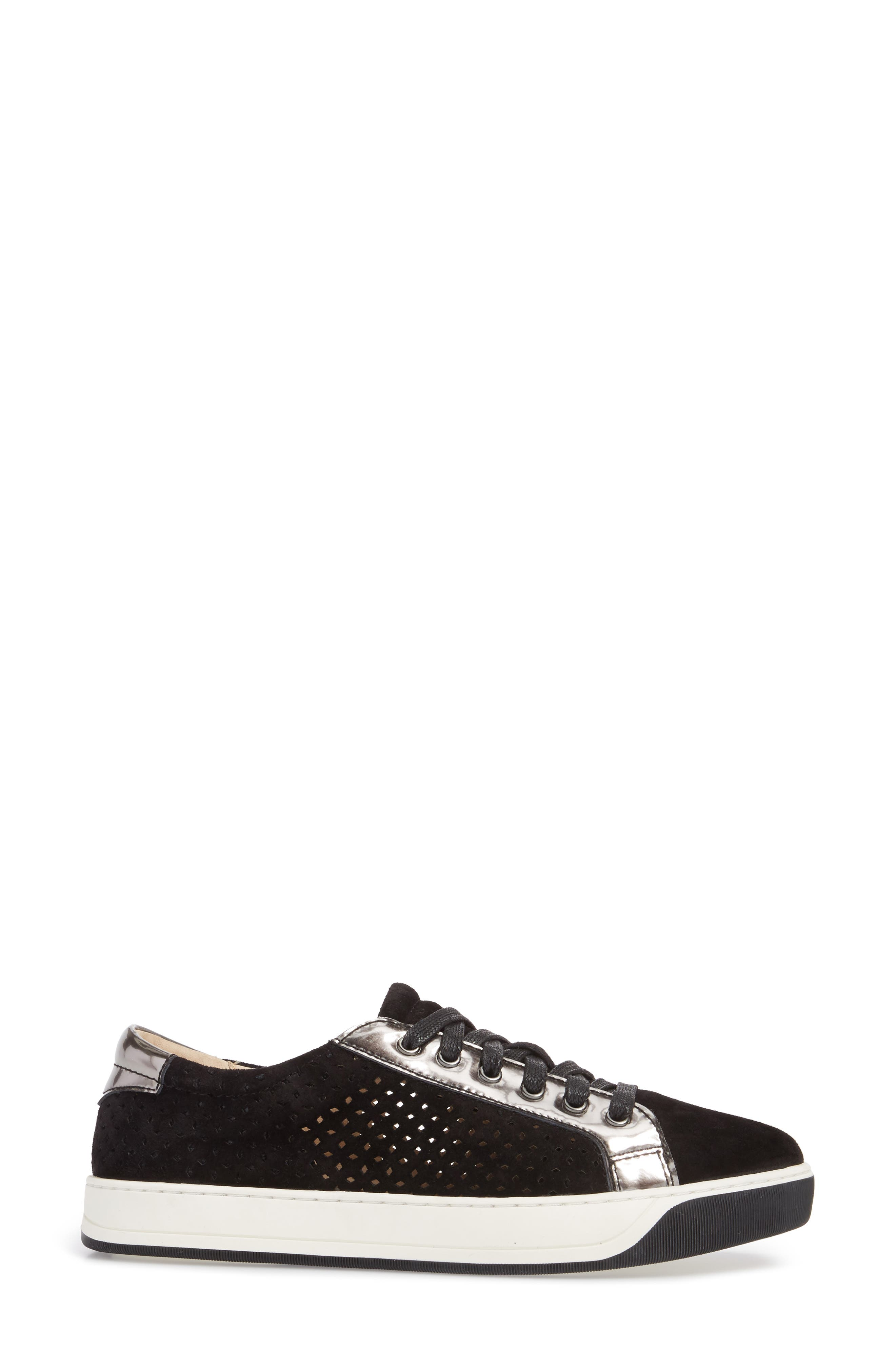 Emerson Perforated Sneaker,                             Alternate thumbnail 3, color,                             001