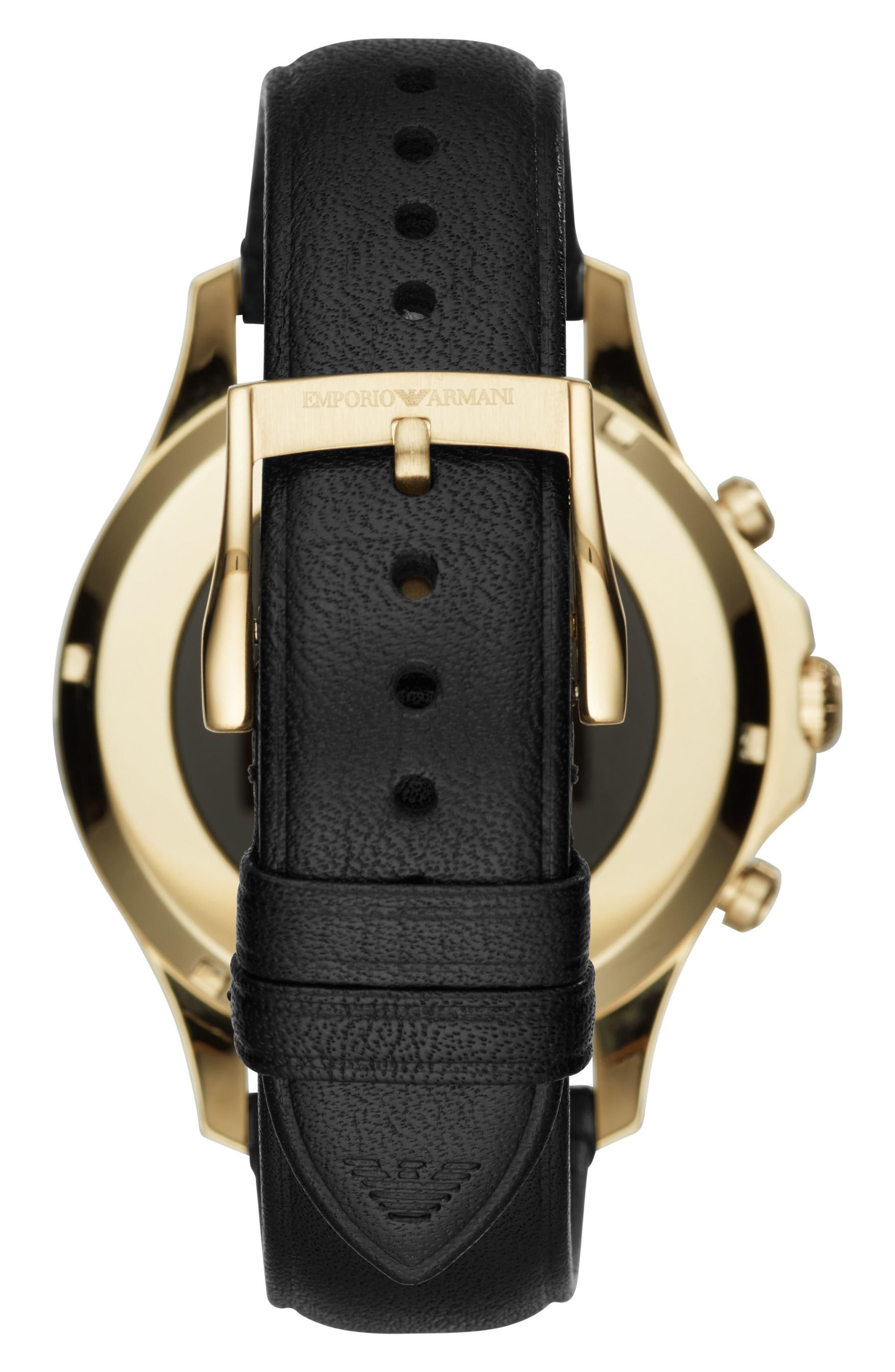 Touchscreen Leather Strap Smartwatch, 46mm,                             Alternate thumbnail 2, color,                             BLACK/ BLACK