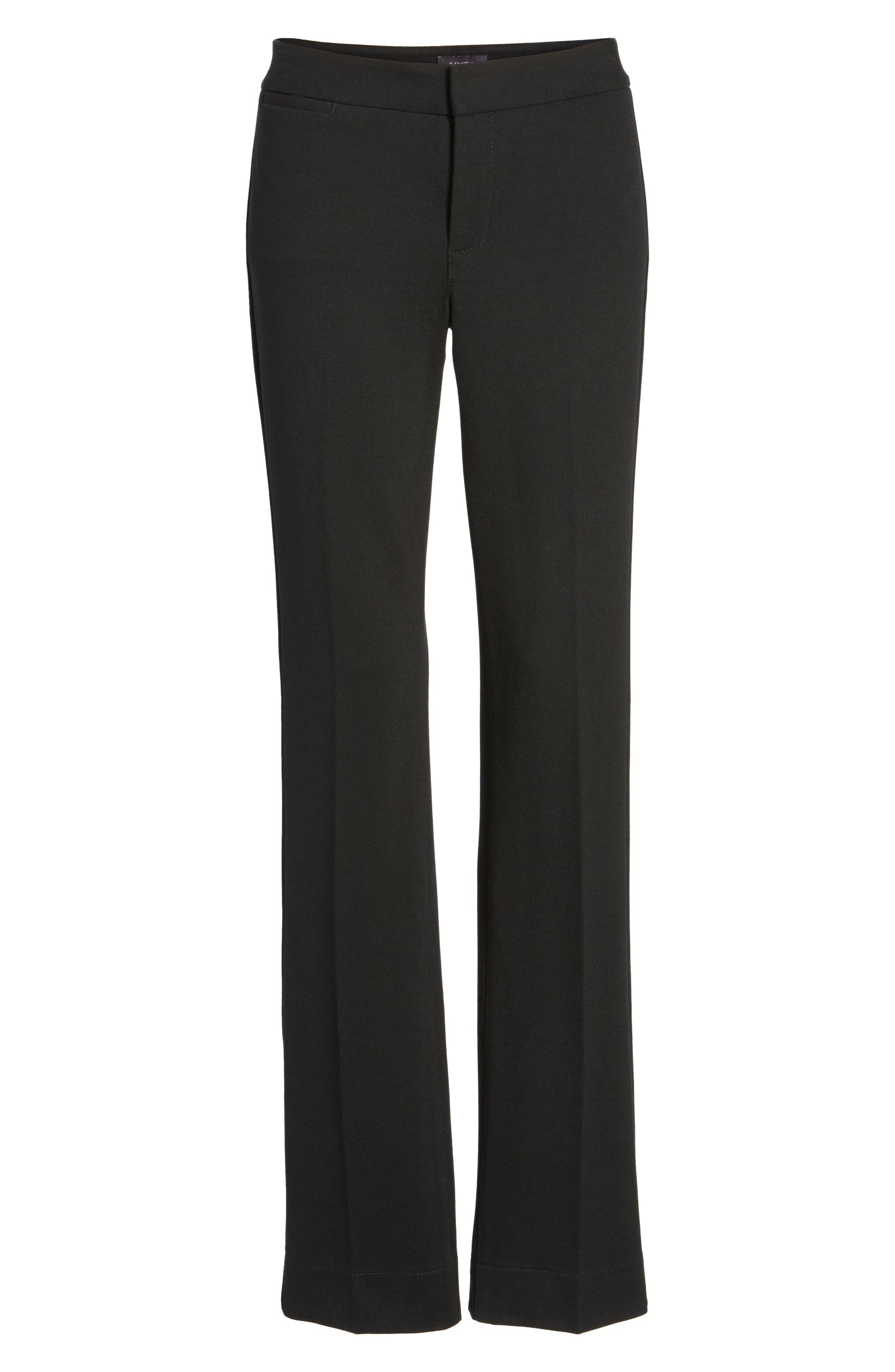 Stretch Knit Trousers,                             Alternate thumbnail 6, color,                             BLACK