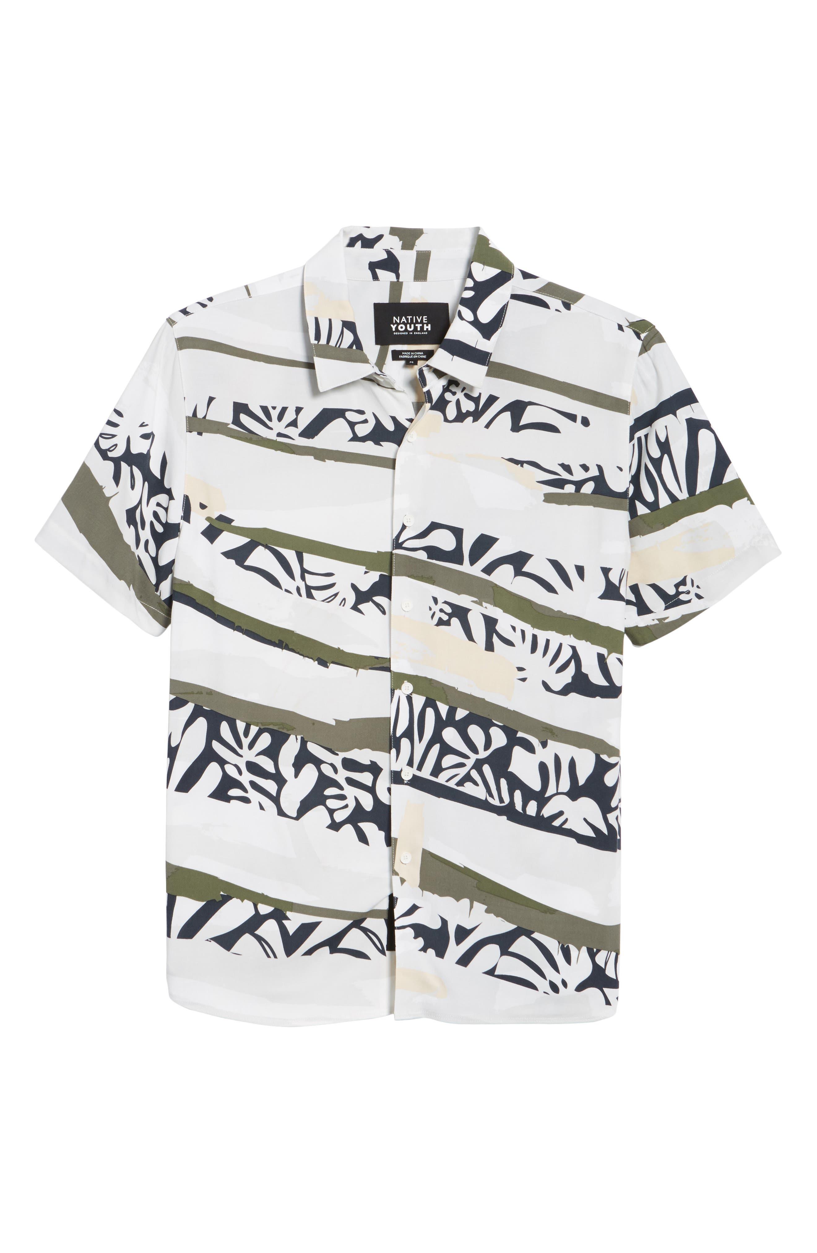 Tropi Camo Woven Shirt,                             Alternate thumbnail 6, color,                             100