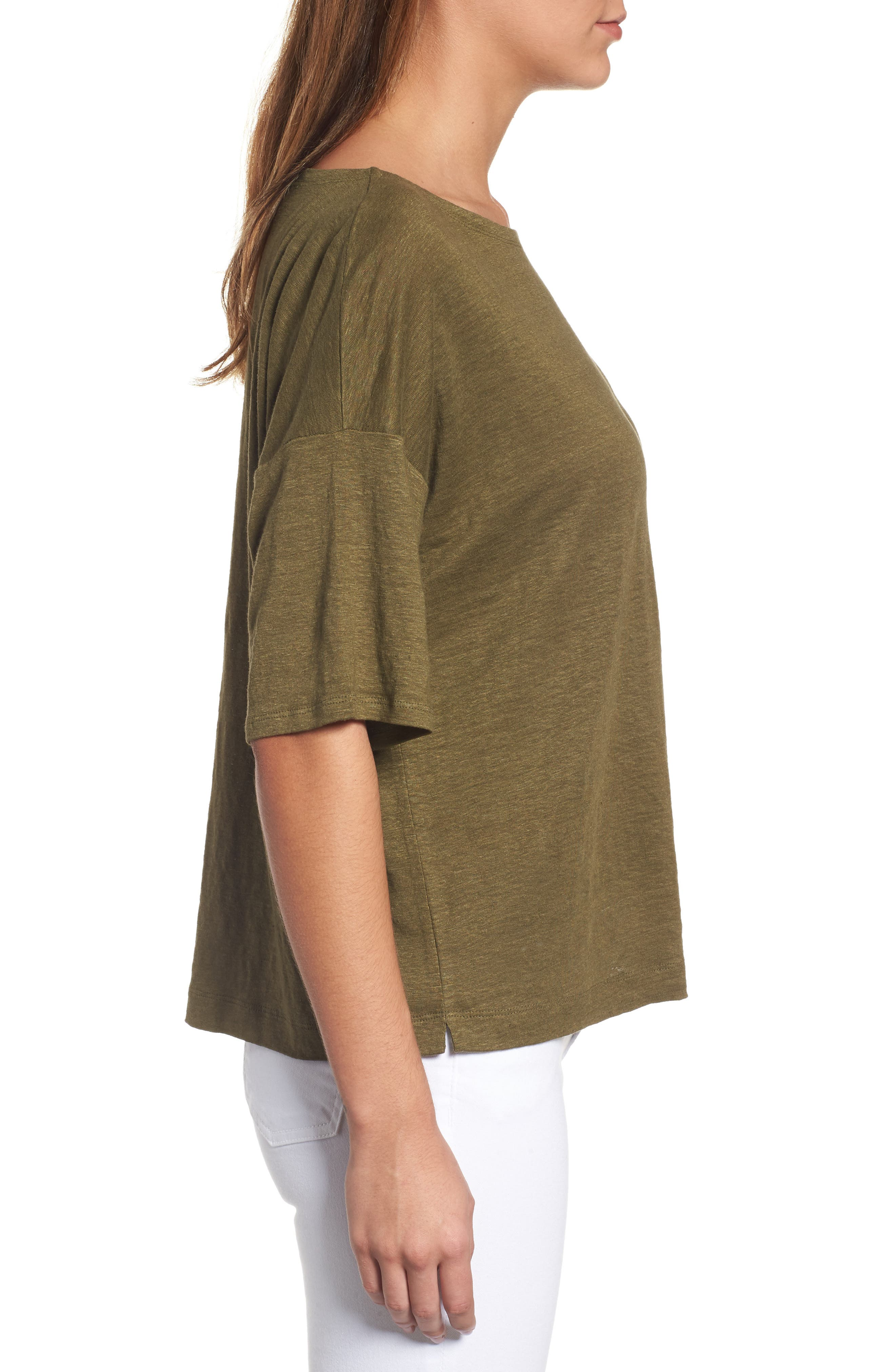 Organic Linen Jersey Boxy Top,                             Alternate thumbnail 17, color,