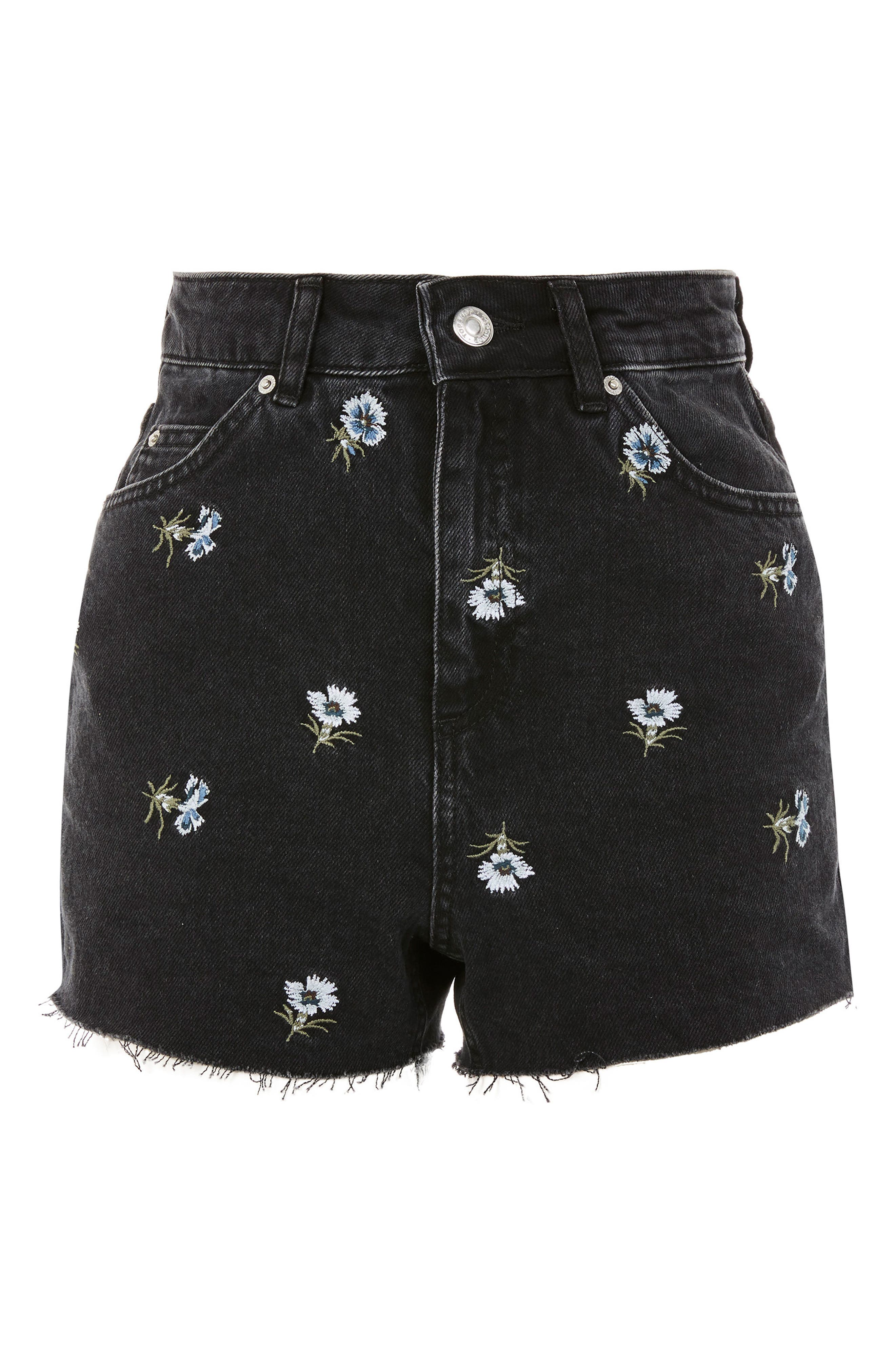 Floral Embroidered Mom Shorts,                             Alternate thumbnail 3, color,                             003