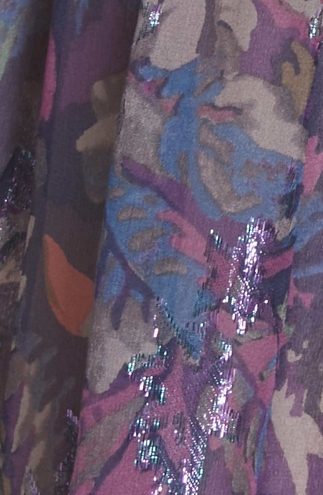 Giverny Metallic Detail Silk Chiffon Dress,                             Alternate thumbnail 5, color,                             AMETHYST COMBO