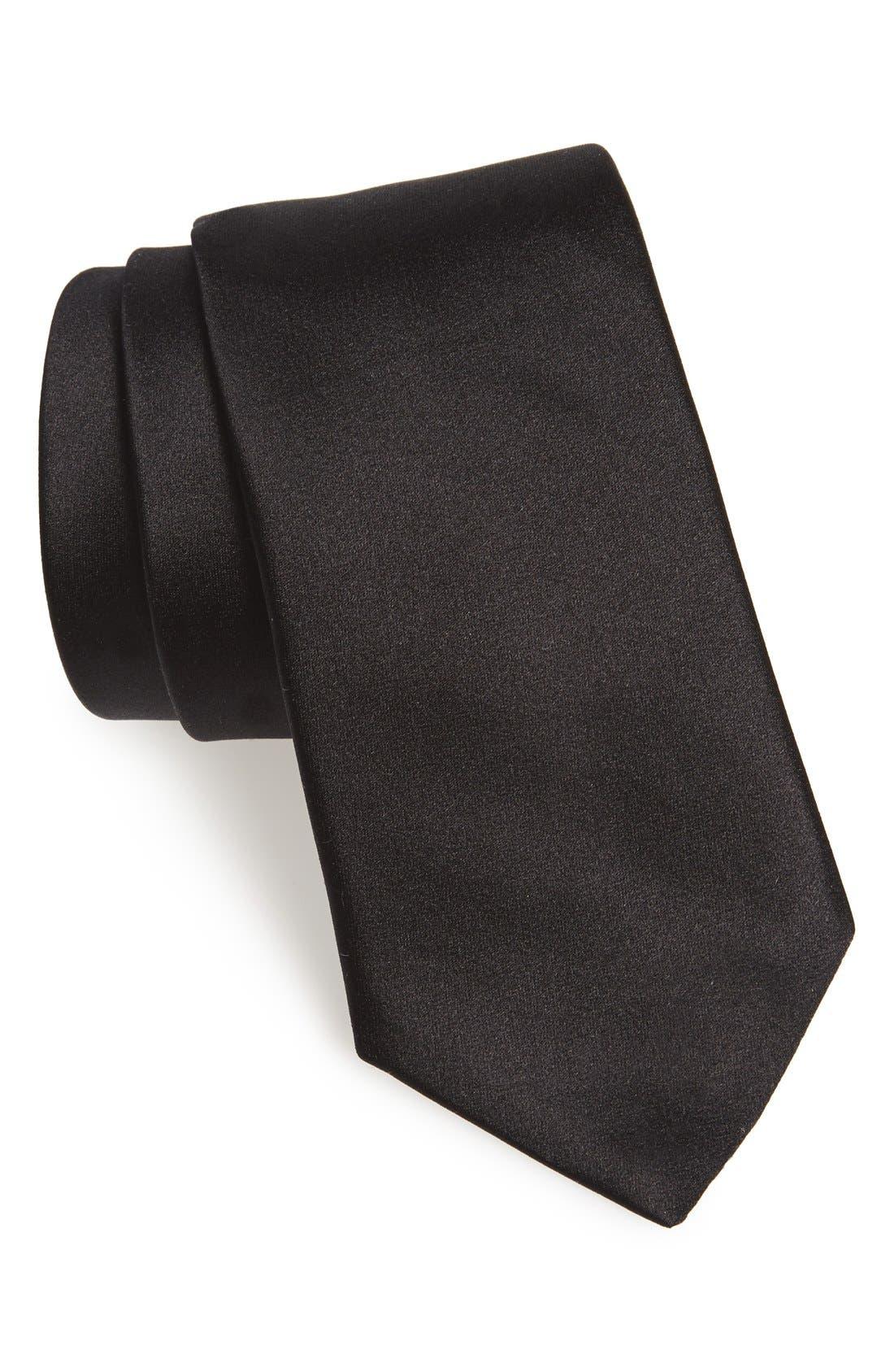 Silk Tie,                         Main,                         color, BLACK