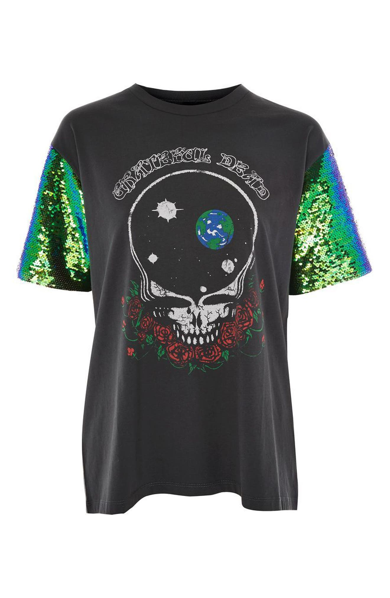 by And Finally Sequin Sleeve Grateful Dead Tee,                             Alternate thumbnail 3, color,                             001