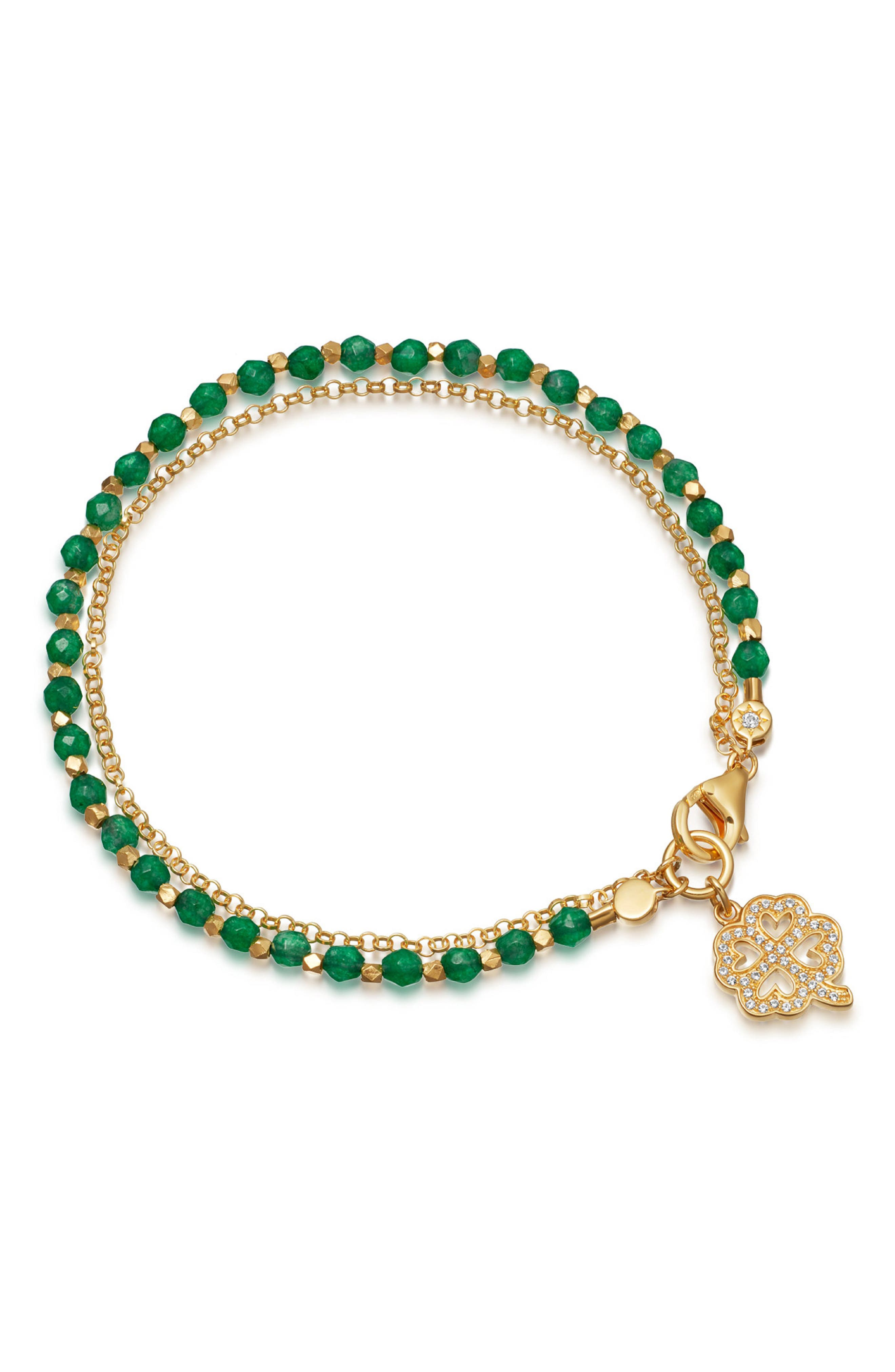 Green Onyx Clover Bracelet,                             Main thumbnail 1, color,                             YELLOW GOLD/ GREEN ONYX
