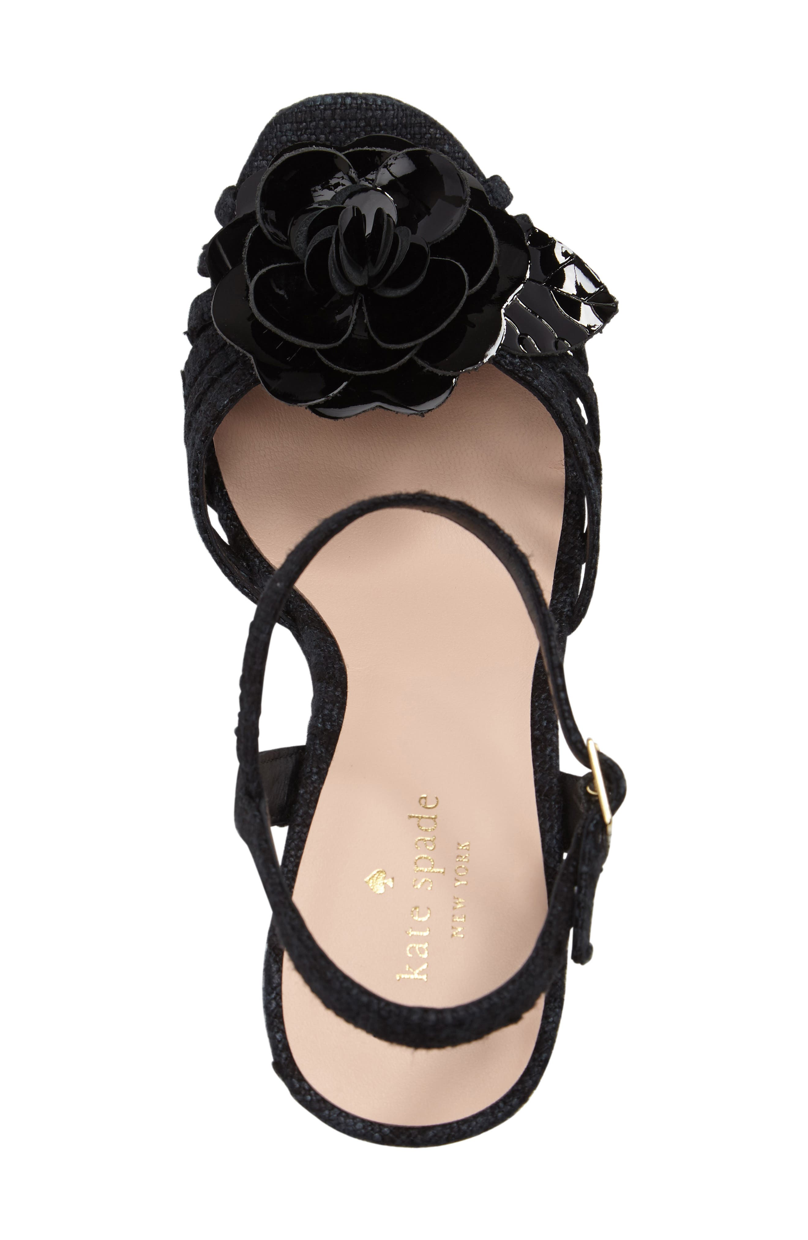 beekman strappy wedge sandal,                             Alternate thumbnail 5, color,                             001