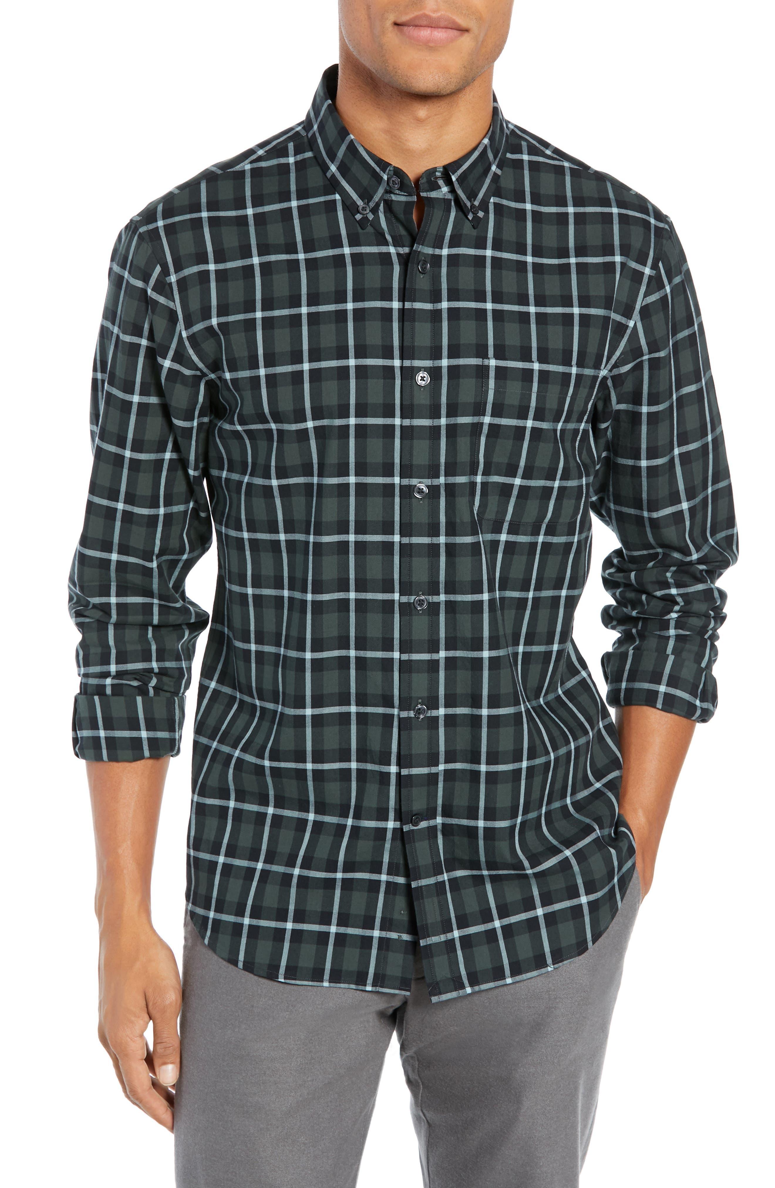 Trim Fit Plaid Sport Shirt,                         Main,                         color, NAVY MULTI