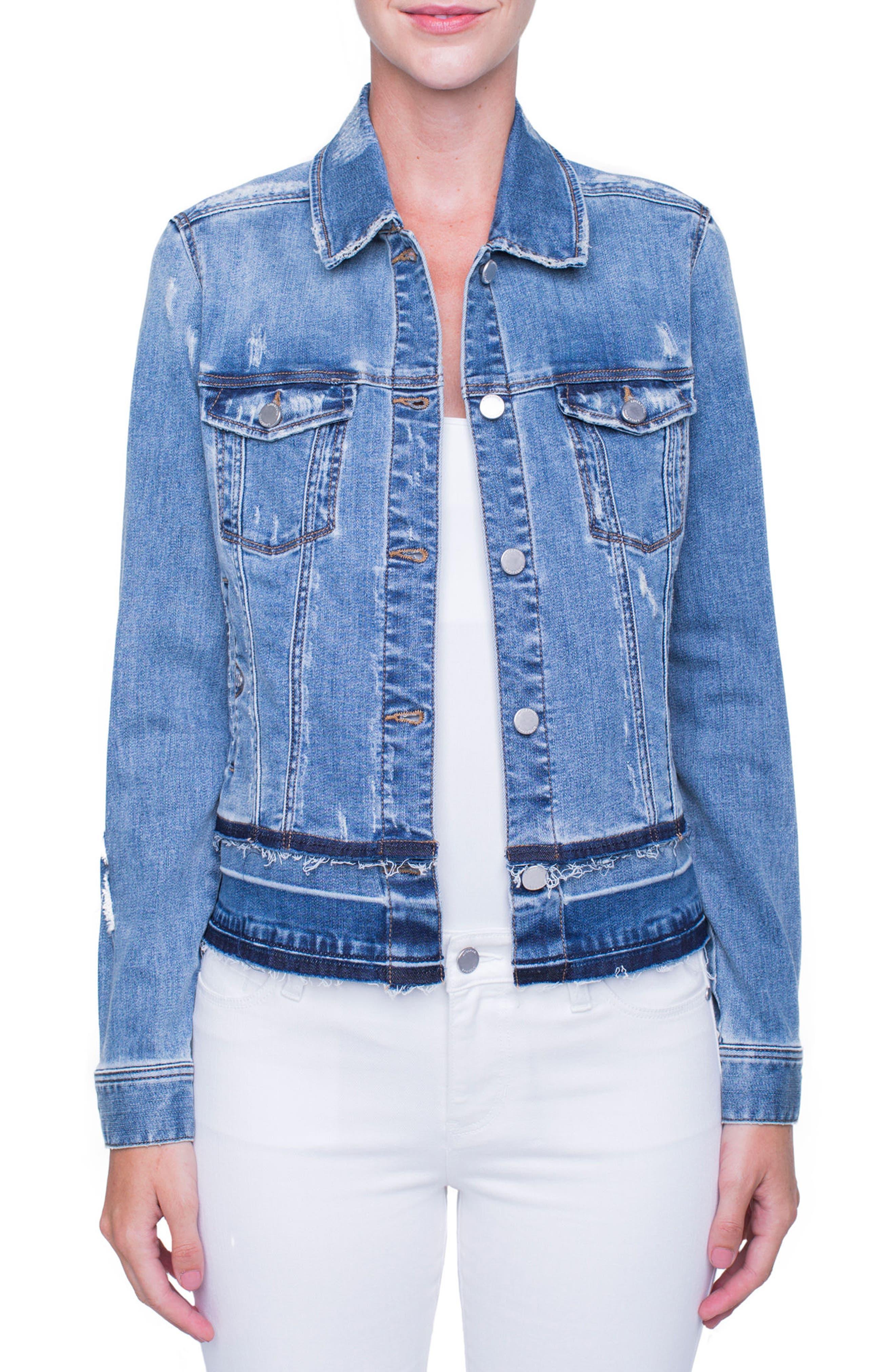Tiered Hem Denim Jacket,                         Main,                         color, BLUE