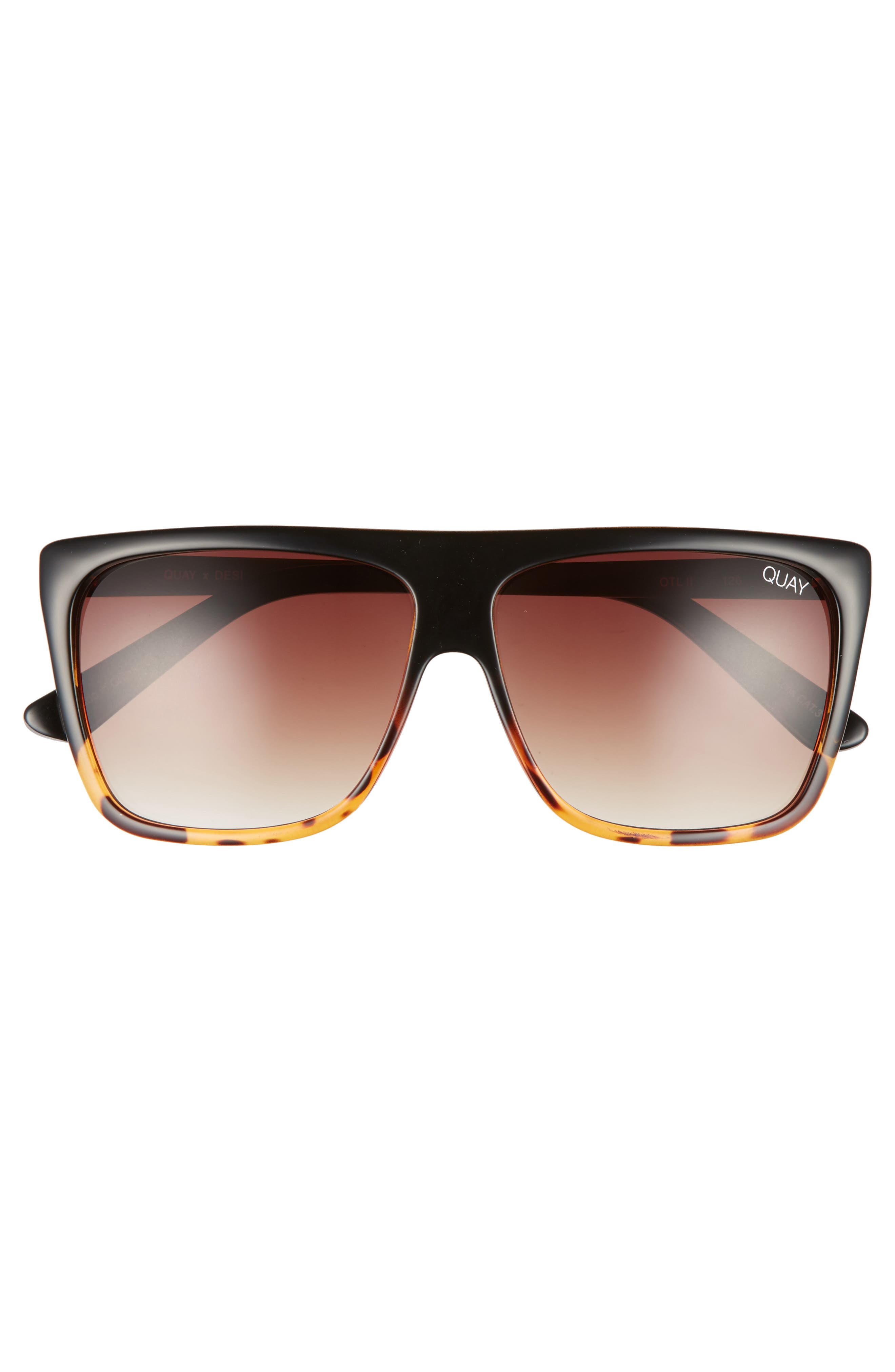 x Desi Perkins On the Low 60mm Square Sunglasses,                             Alternate thumbnail 3, color,                             TORT/ BROWN