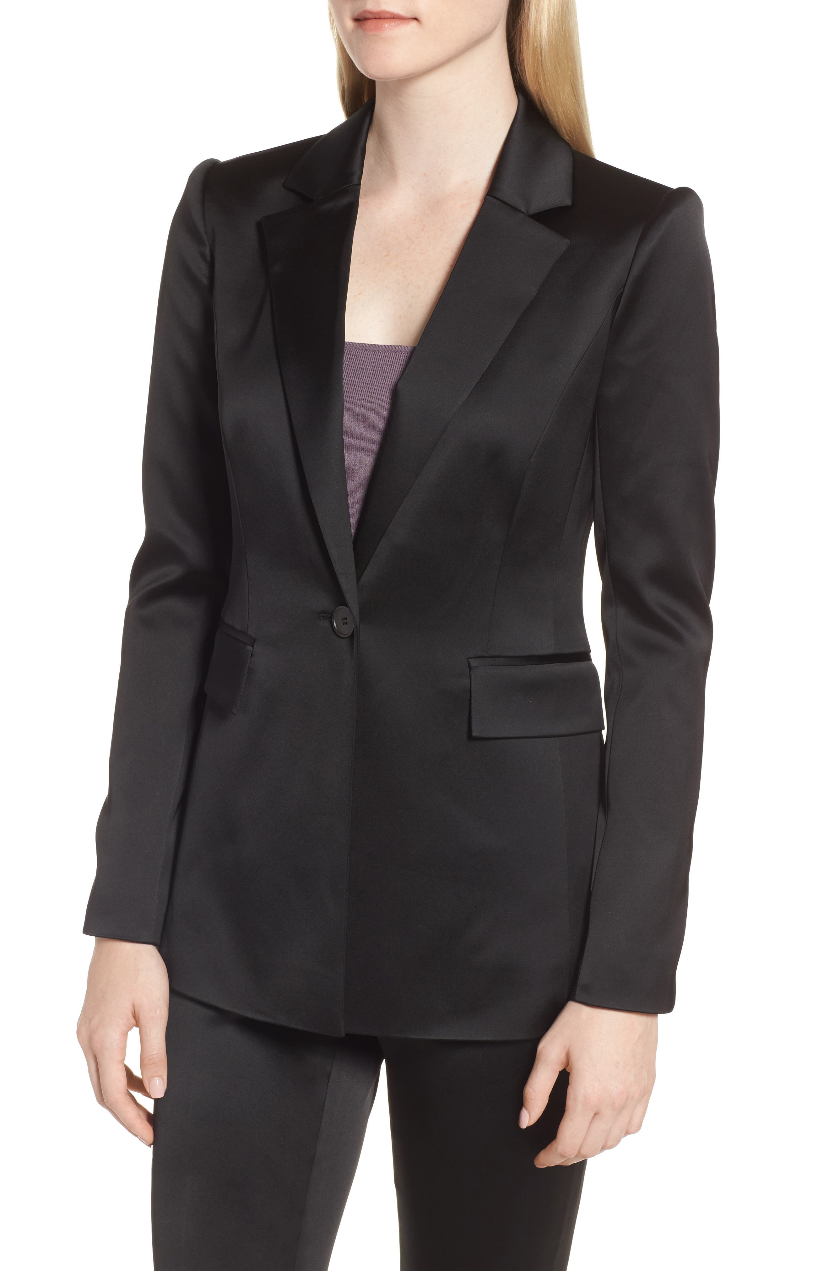 Puff Shoulder Satin Blazer,                             Alternate thumbnail 4, color,